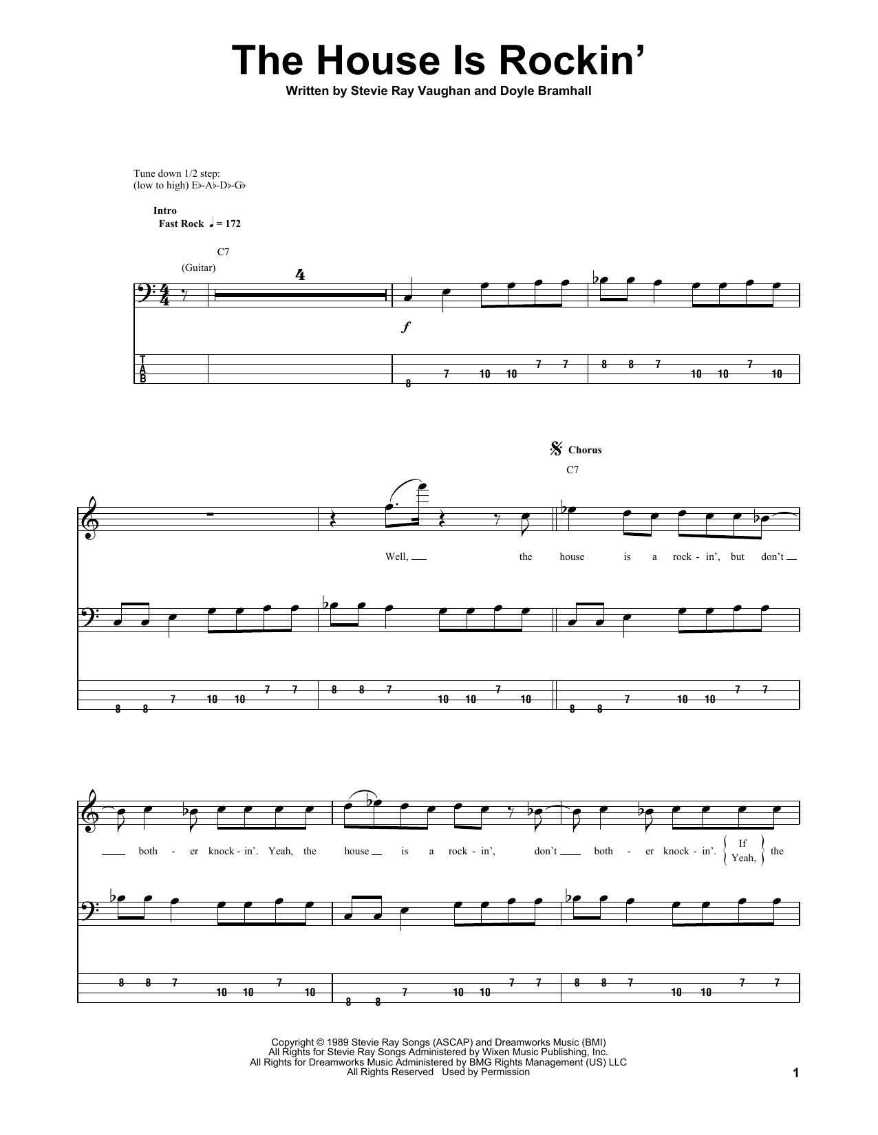Tablature guitare The House Is Rockin' de Stevie Ray Vaughan - Tablature Basse