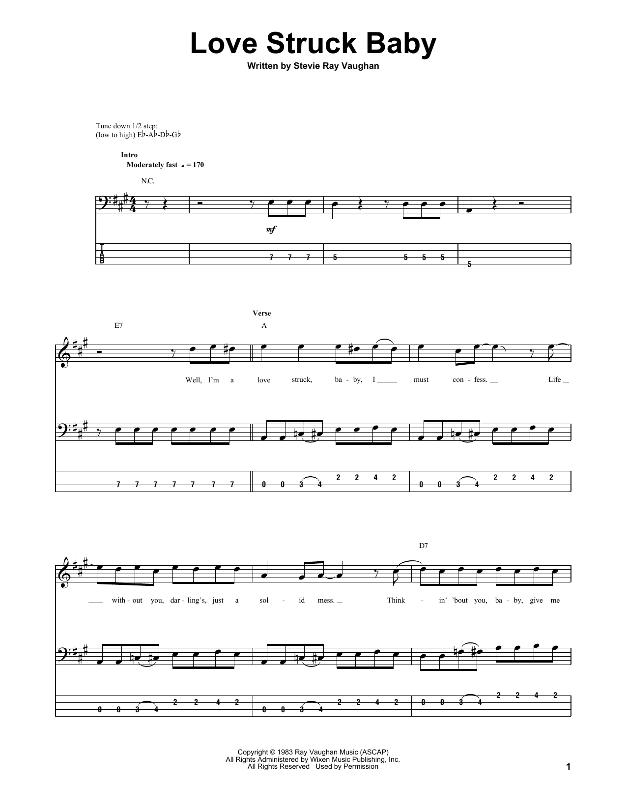 Tablature guitare Love Struck Baby de Stevie Ray Vaughan - Tablature Basse
