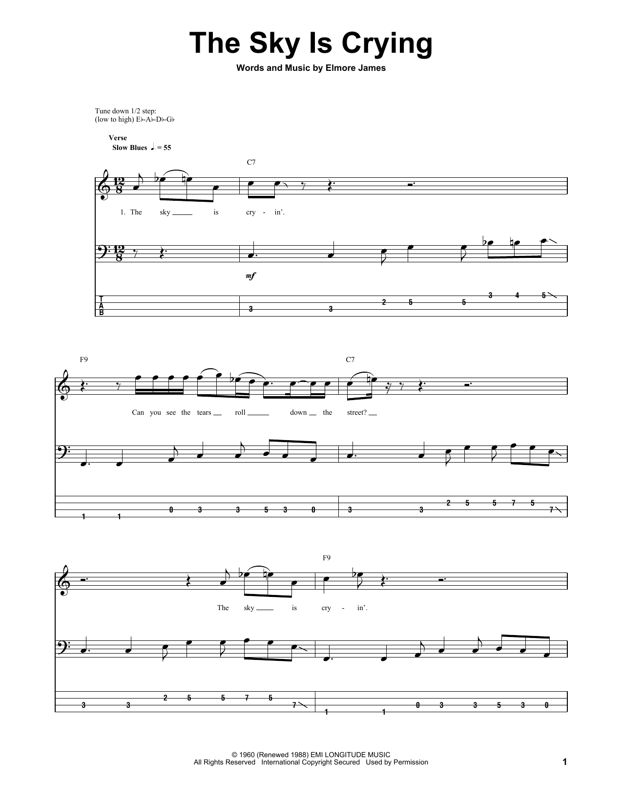 Tablature guitare The Sky Is Crying de Stevie Ray Vaughan - Tablature Basse