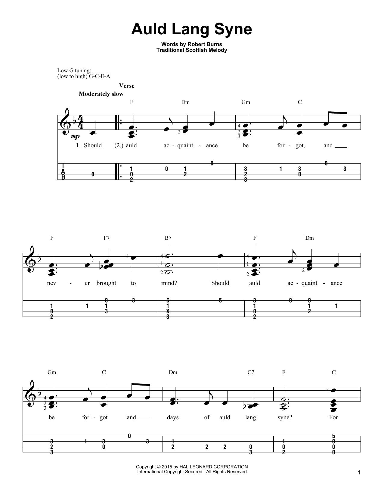 Tablature guitare Auld Lang Syne de Robert Burns - Ukulele