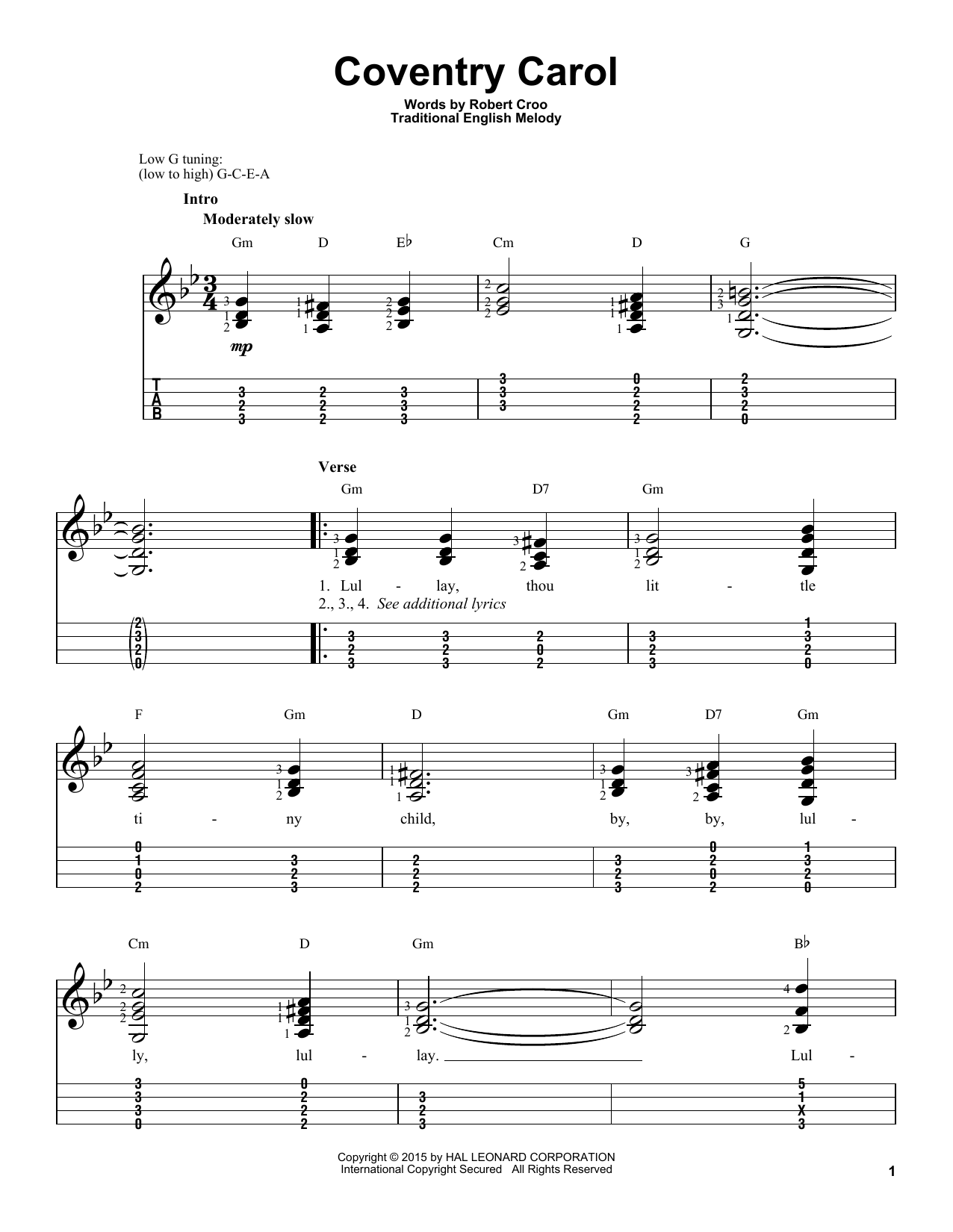 Tablature guitare Coventry Carol (Arr. Robert Croo) de Traditional - Ukulele
