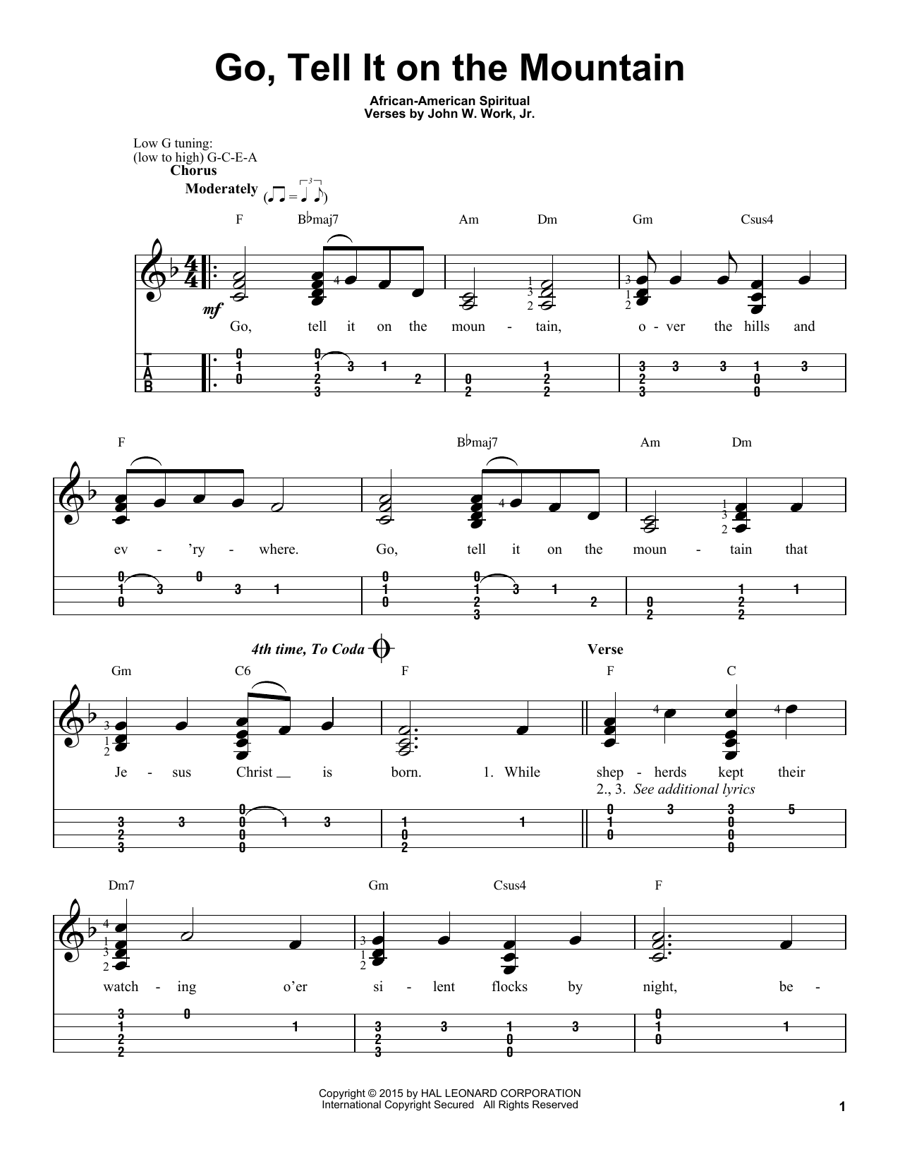 Tablature guitare Go, Tell It On The Mountain de African-American Spiritual - Ukulele