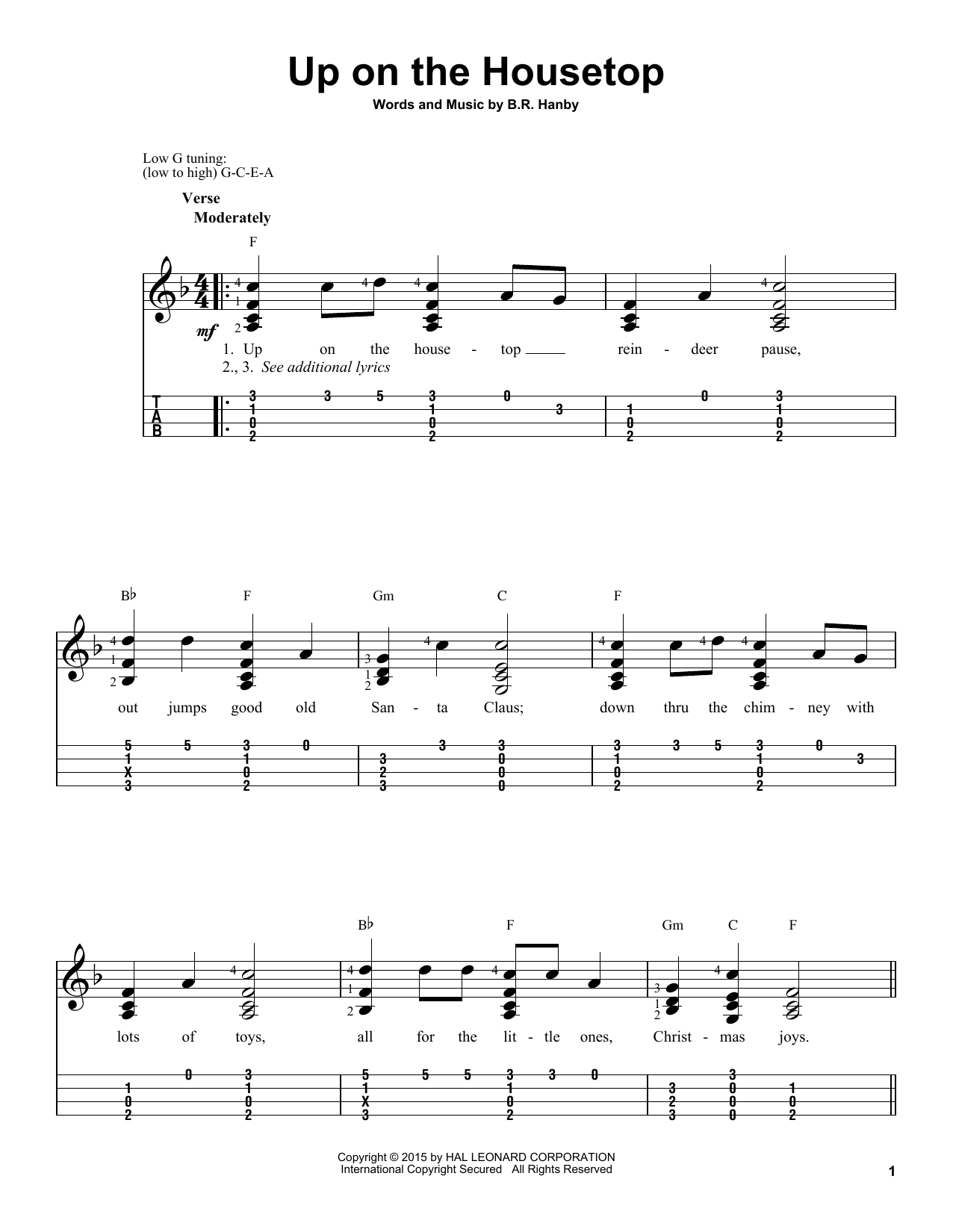 Tablature guitare Up On The Housetop de B.R. Hanby - Ukulele
