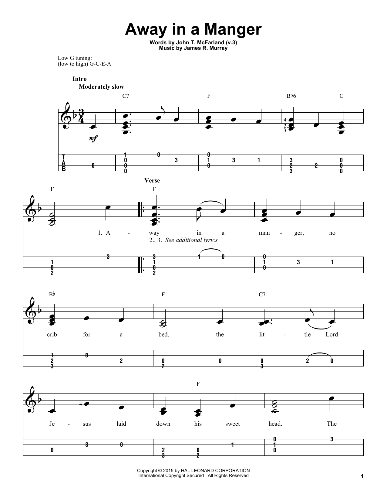 Tablature guitare Away In A Manger (Arr. James R. Murray) de Traditional - Ukulele