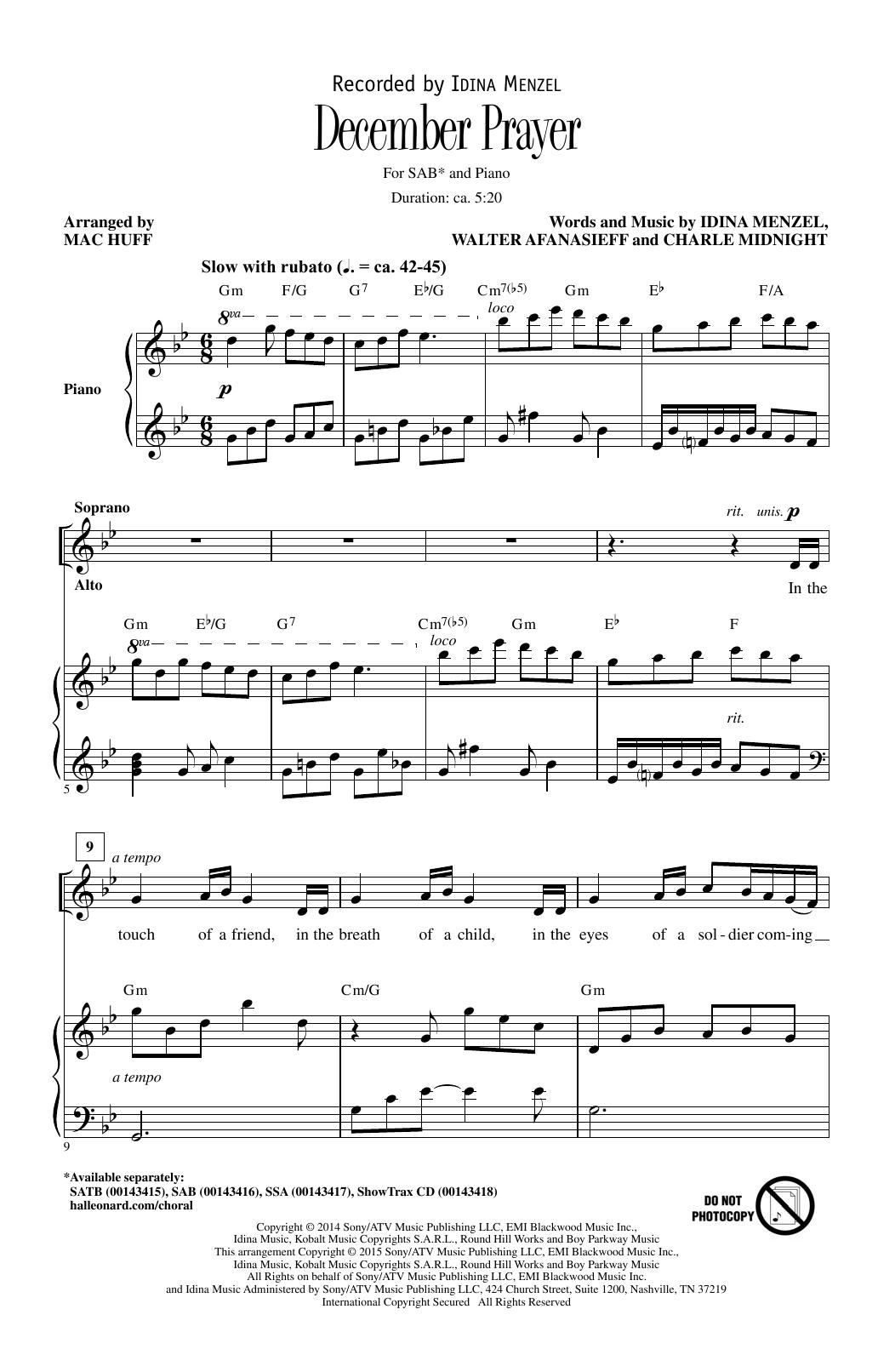 Partition chorale December Prayer de Charlie Midnight - SAB