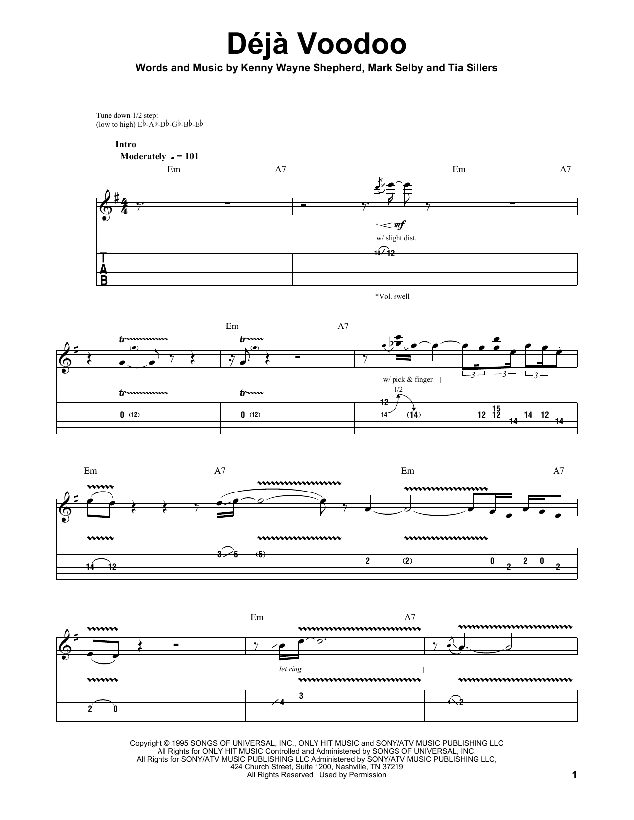 Tablature guitare Deja Voodoo de Kenny Wayne Shepherd - Tablature Guitare