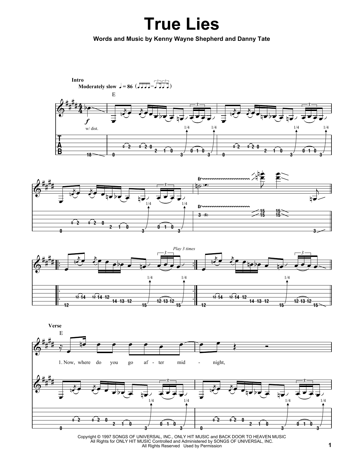 Tablature guitare True Lies de Kenny Wayne Shepherd - Tablature Guitare