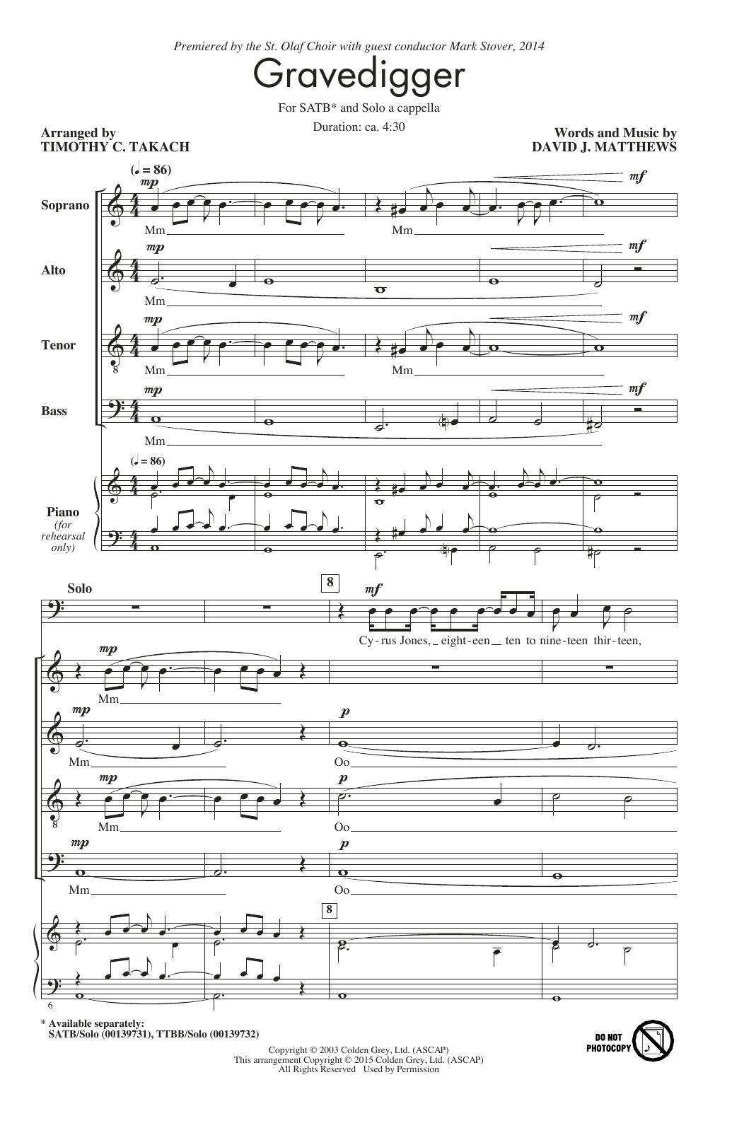 Partition chorale Gravedigger de Jerry Rubino - SATB