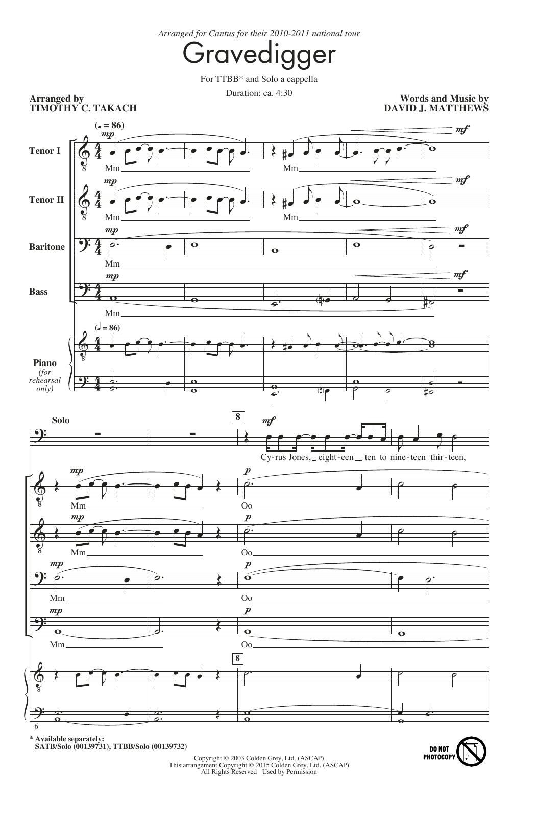 Partition chorale Gravedigger de Jerry Rubino - TTBB