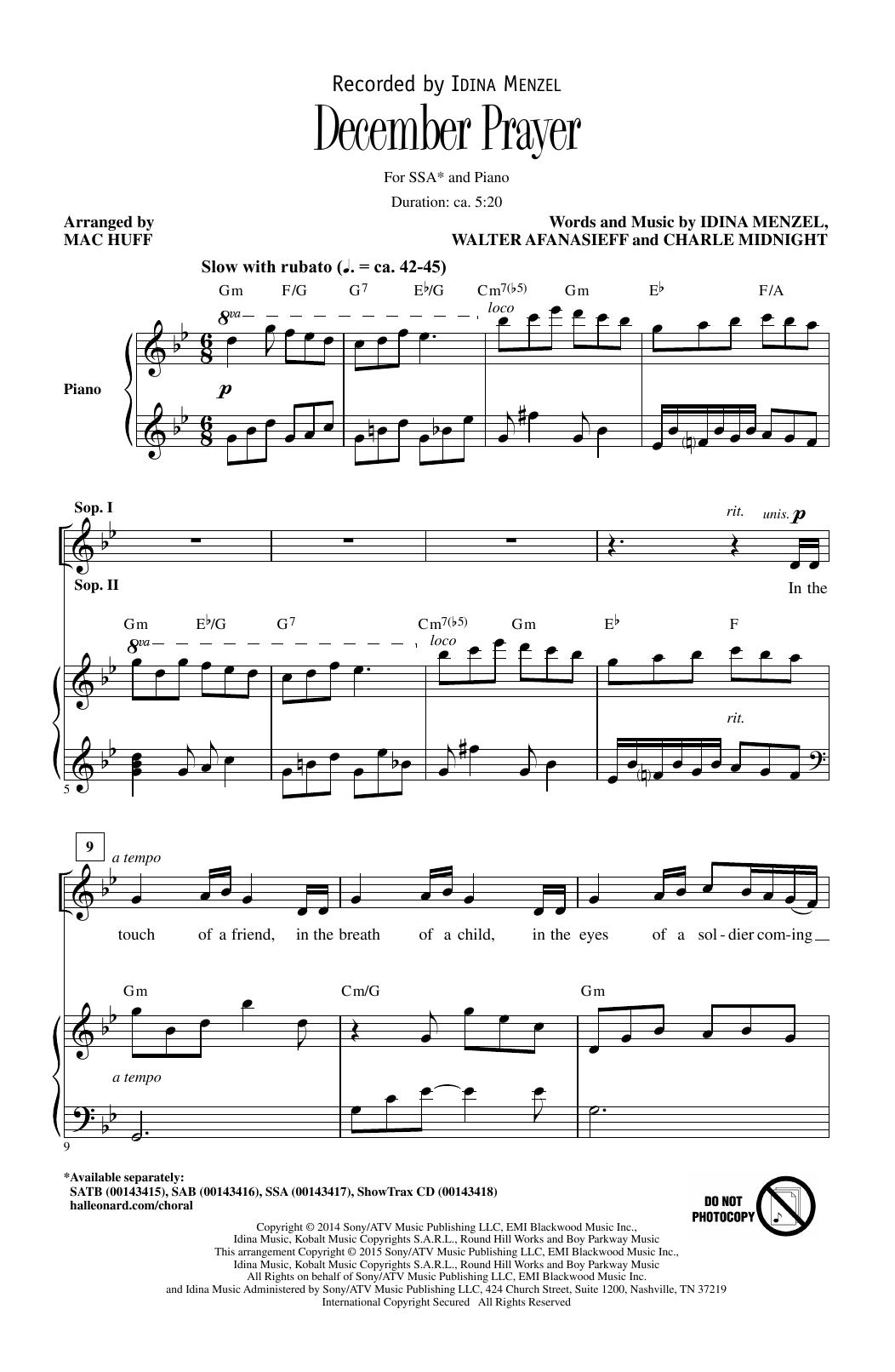 Partition chorale December Prayer de Charlie Midnight - SSA