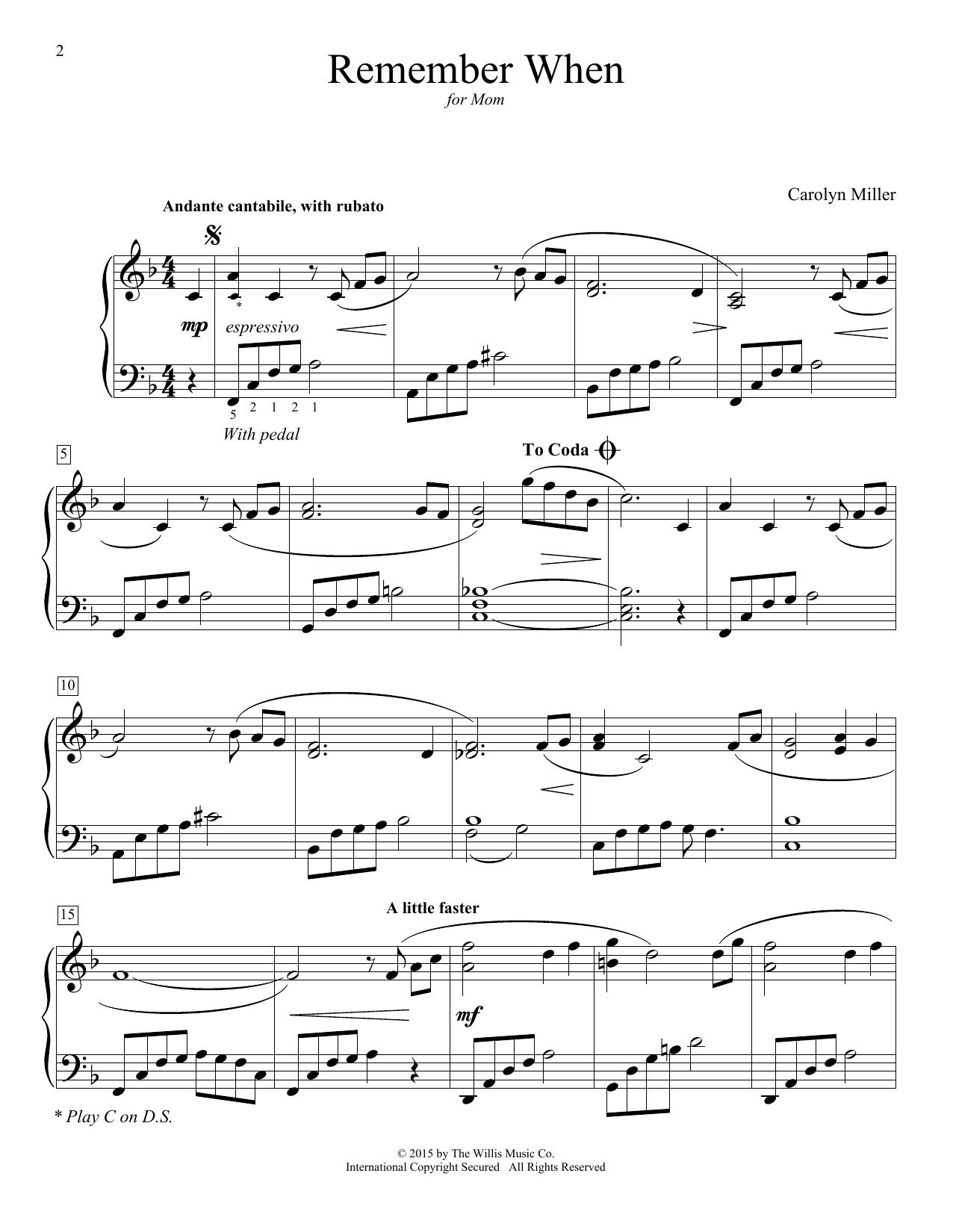 Partition piano Remember When de Carolyn Miller - Piano Facile
