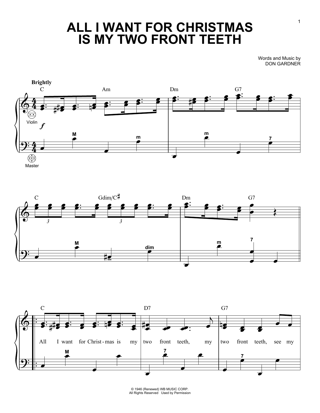 Partition autre All I Want For Christmas Is My Two Front Teeth de Gary Meisner - Accordeon