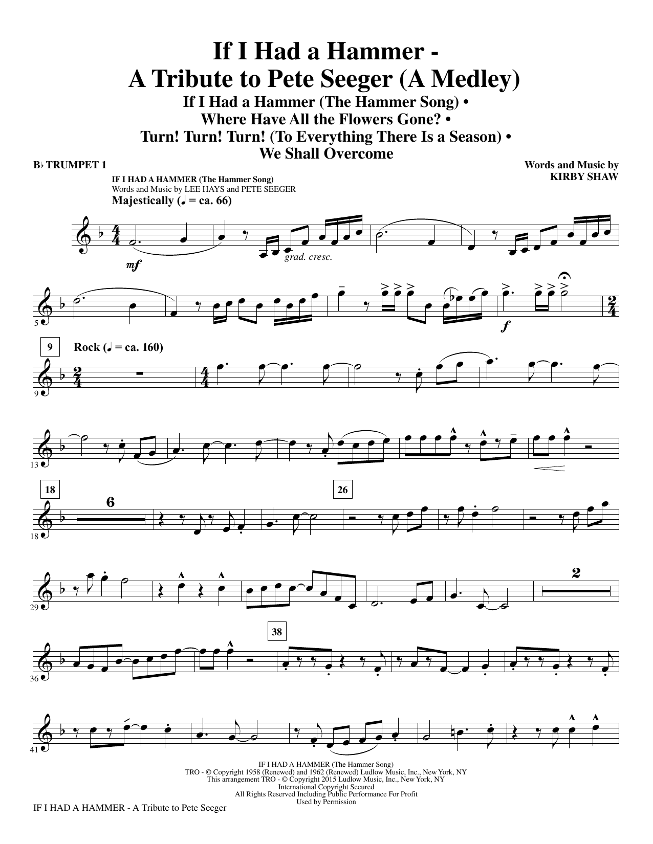 If I Had A Hammer - A Tribute to Pete Seeger (complete set of parts) sheet music for orchestra/band by Kirby Shaw