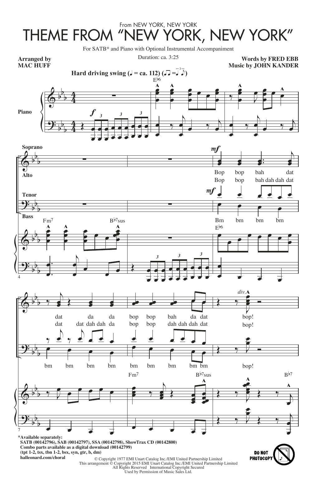 "Partition chorale Theme From ""New York, New York"" de Frank Sinatra - SATB"