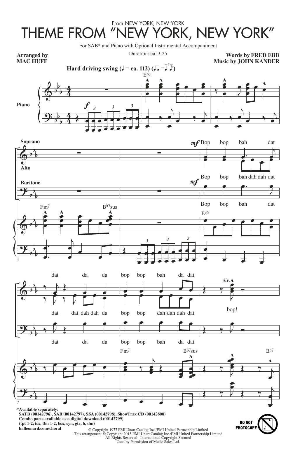"""Partition chorale Theme From """"New York, New York"""" de Frank Sinatra - SAB"""