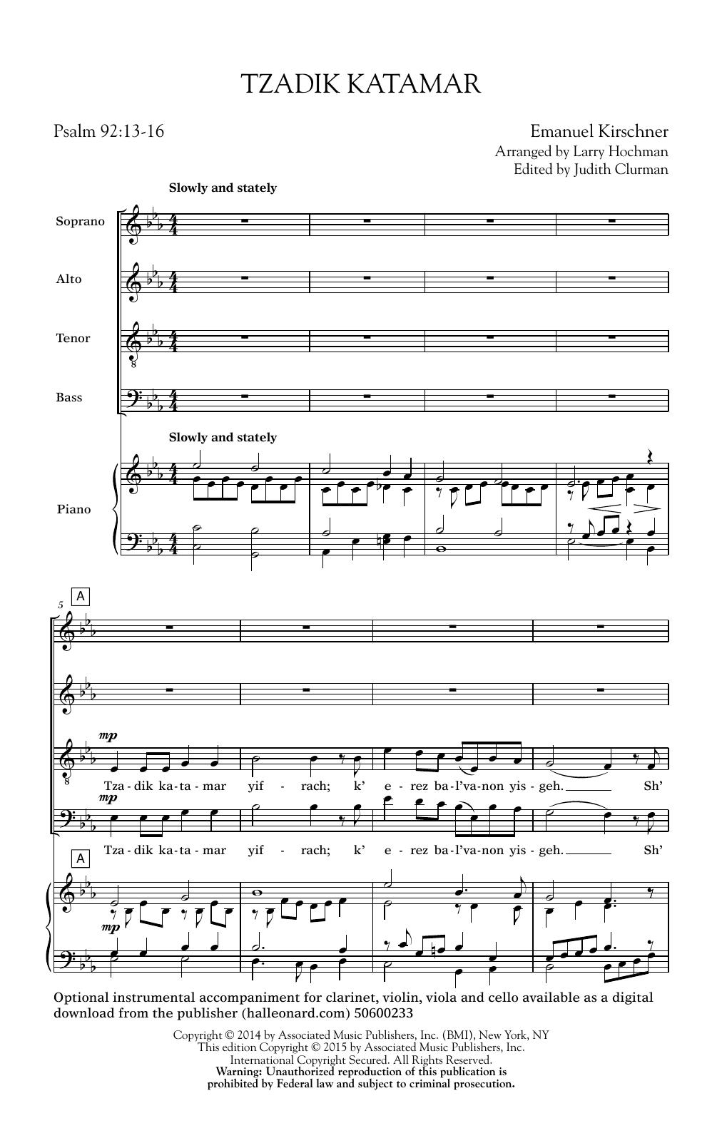 Partition chorale Tzadik Katamar Yifrach (Arr. Larry Hochman) de  - SATB