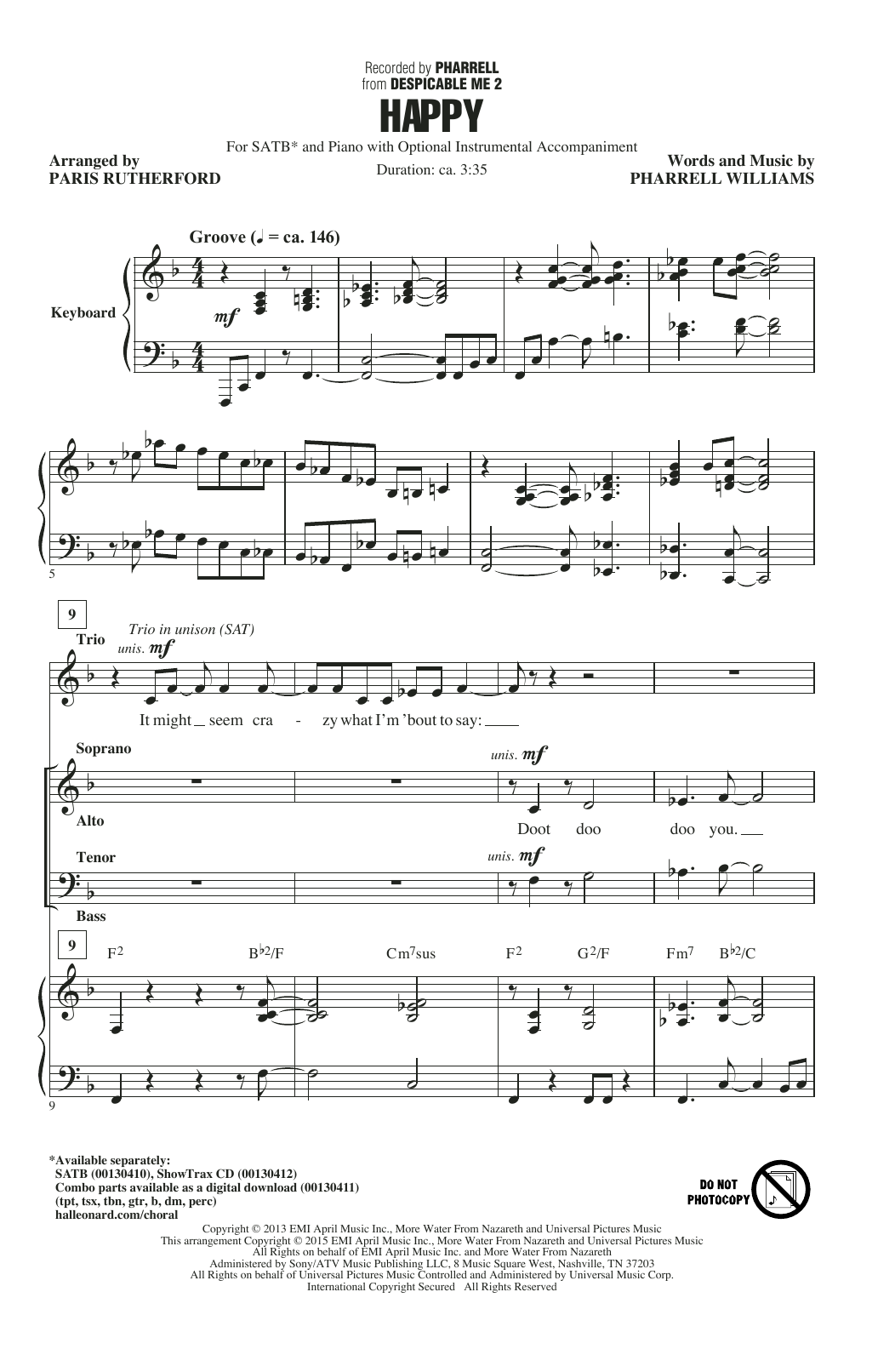 Partition chorale Happy (Arr. Paris Rutherford) de Pharrell - SATB