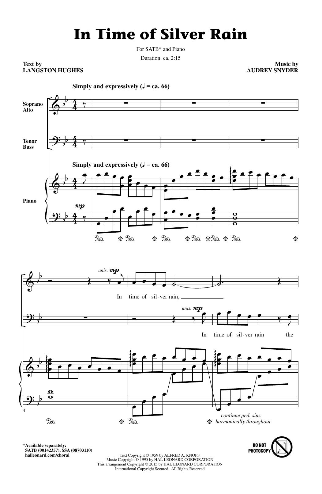 Partition chorale In Time Of Silver Rain (Arr. Audrey Snyder) de Langston Hughes - SATB