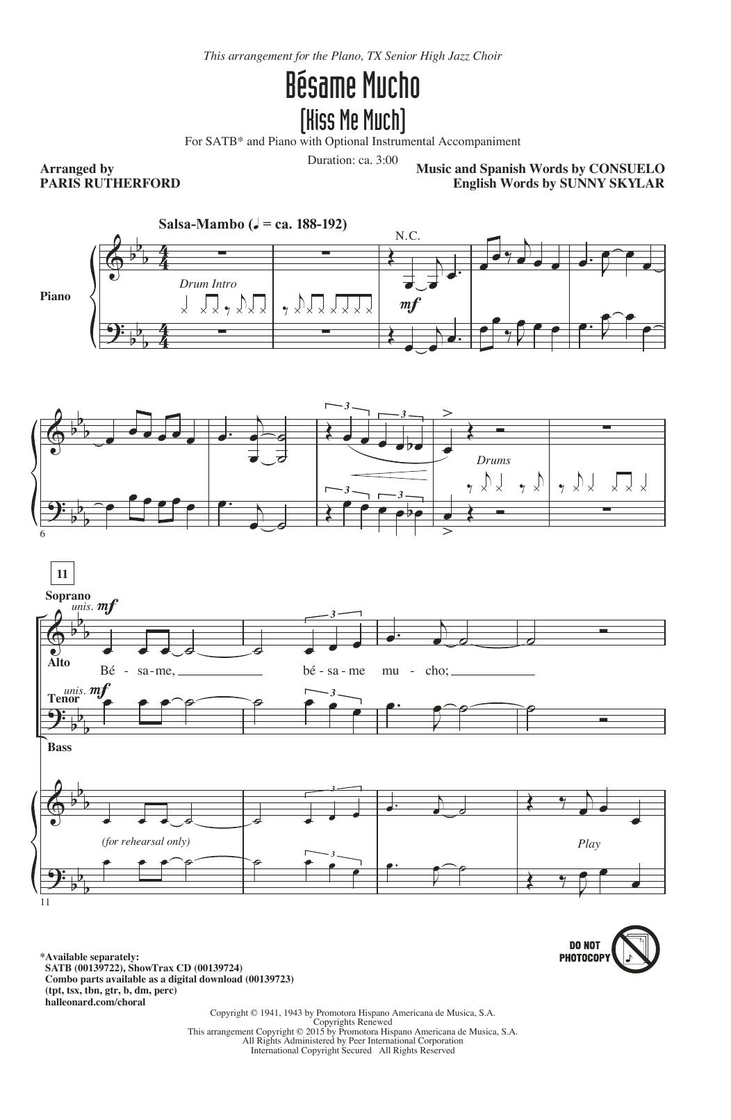 Partition chorale Bésame Mucho (Kiss Me Much) de The Coasters - SATB
