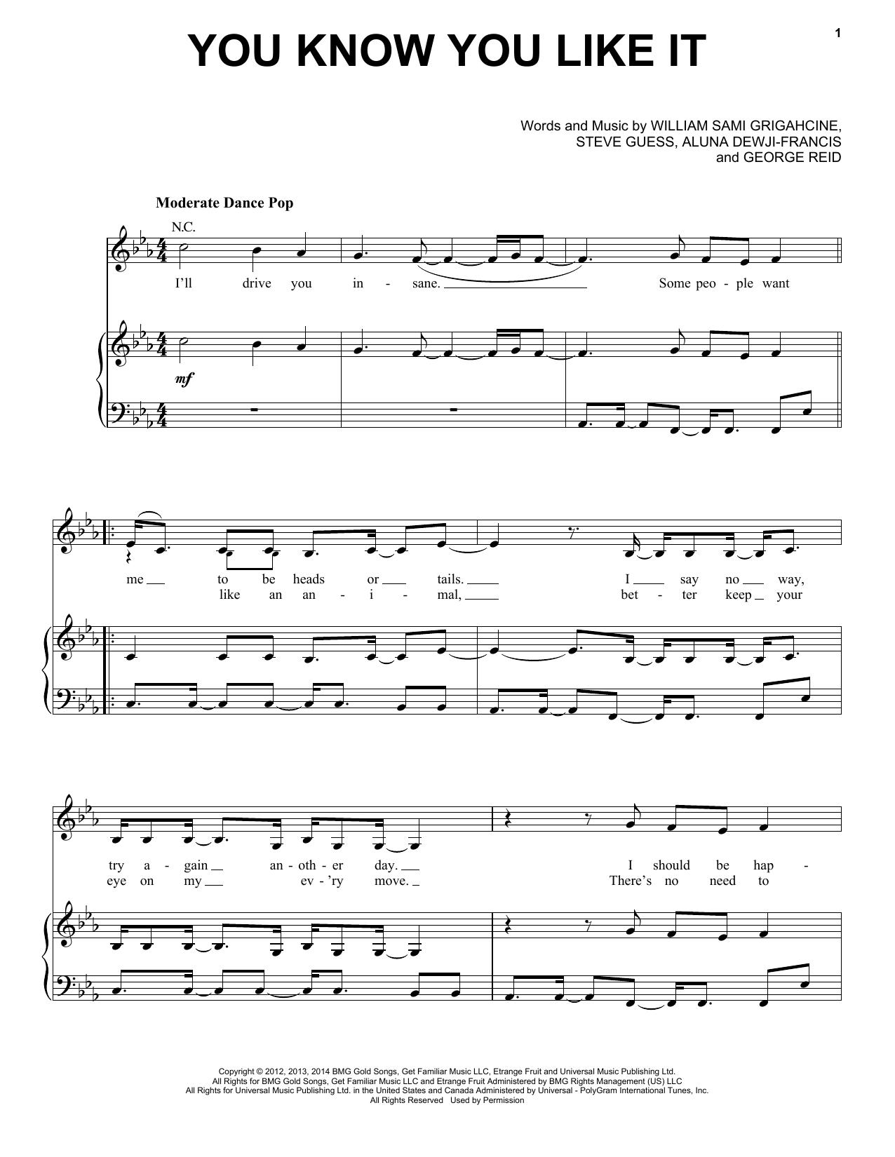 Partition piano You Know You Like It de DJ Snake & AlunaGeorge - Piano Voix Guitare (Mélodie Main Droite)