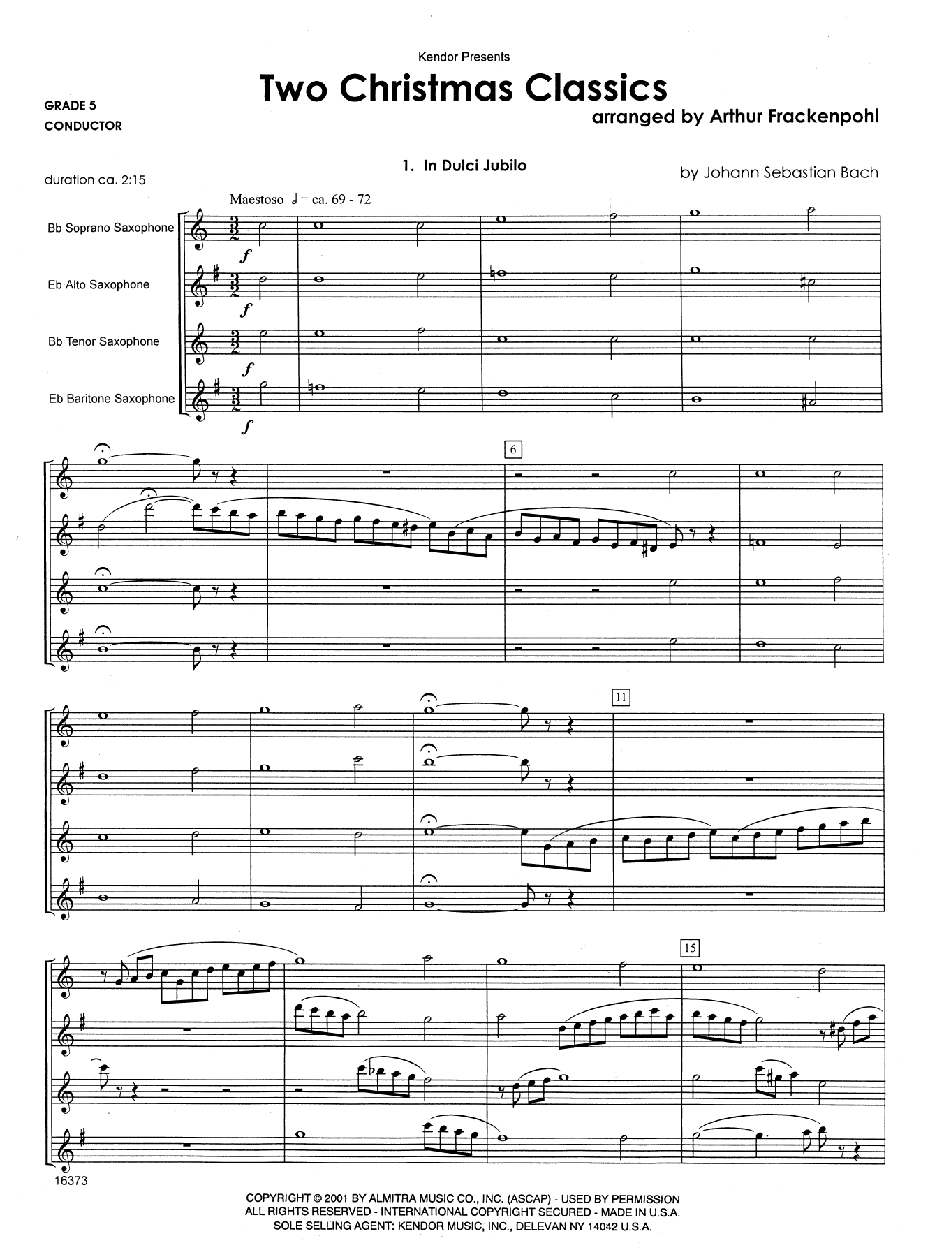 Two Christmas Classics (COMPLETE) sheet music for saxophone quartet by Arthur Frackenpohl