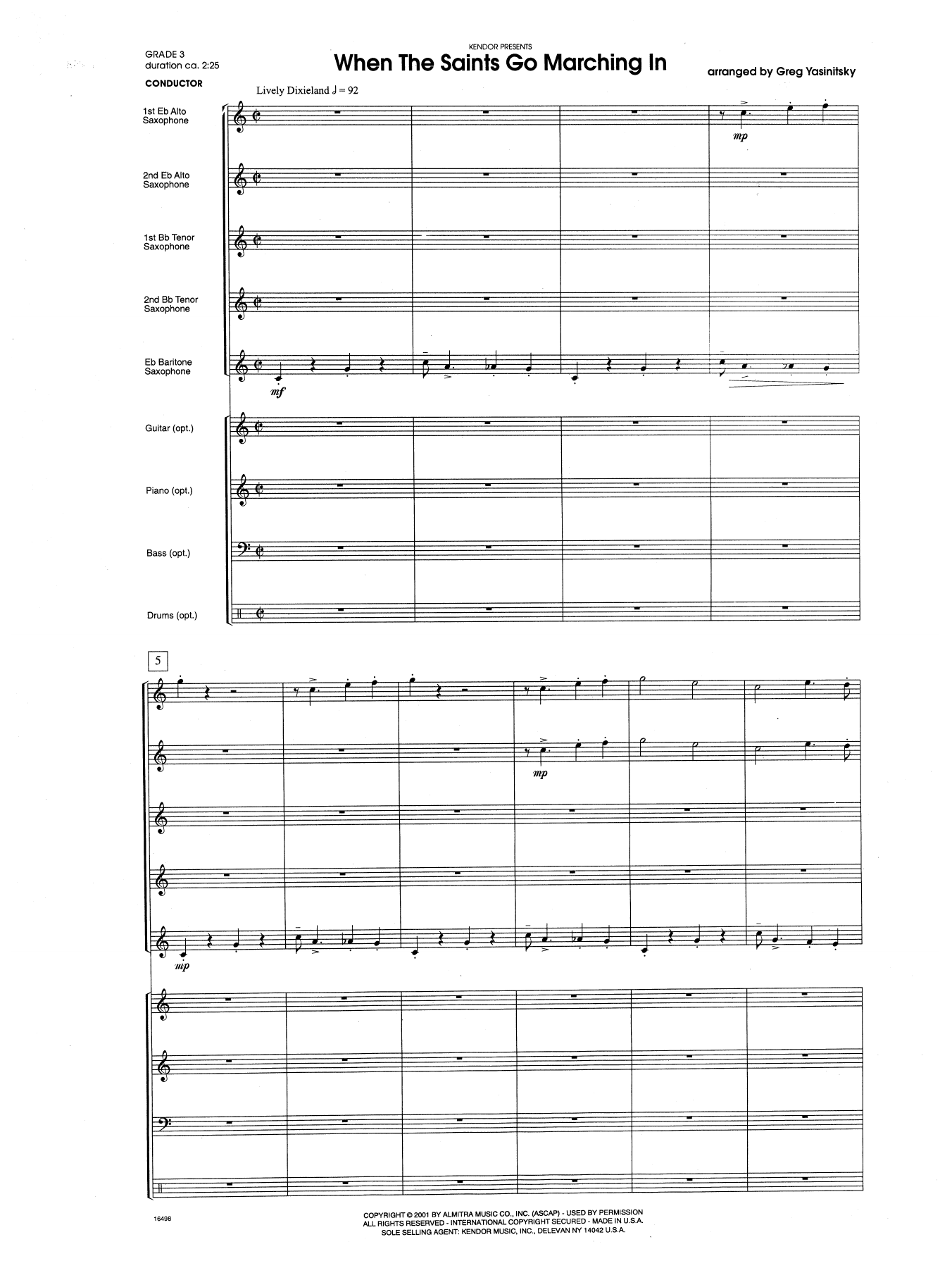 When the Saints Go Marching In (COMPLETE) sheet music for band by Gregory Yasinitsky