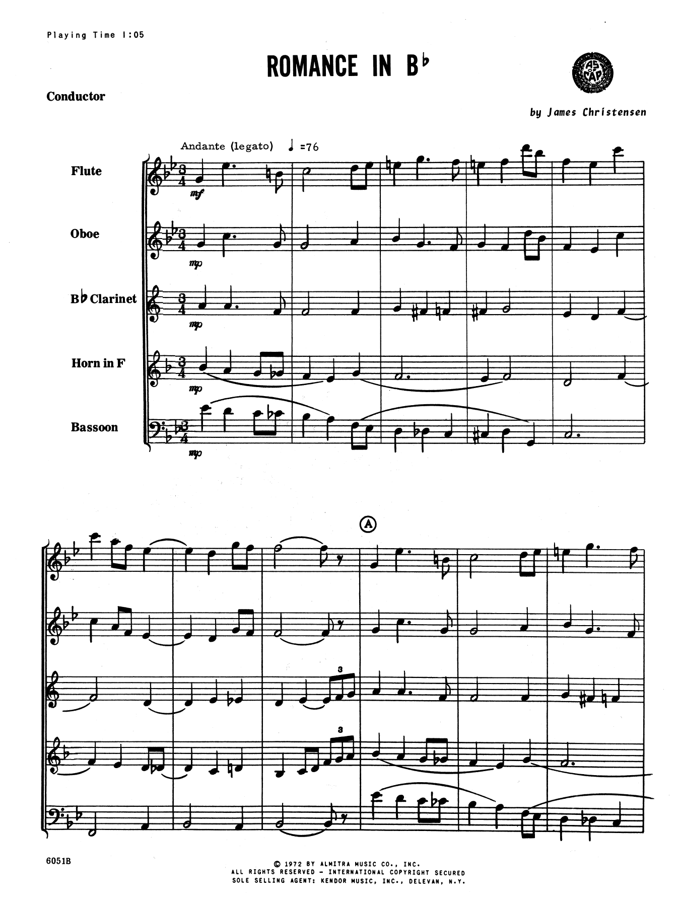 Romance In Bb (COMPLETE) sheet music for wind quintet by James Christensen