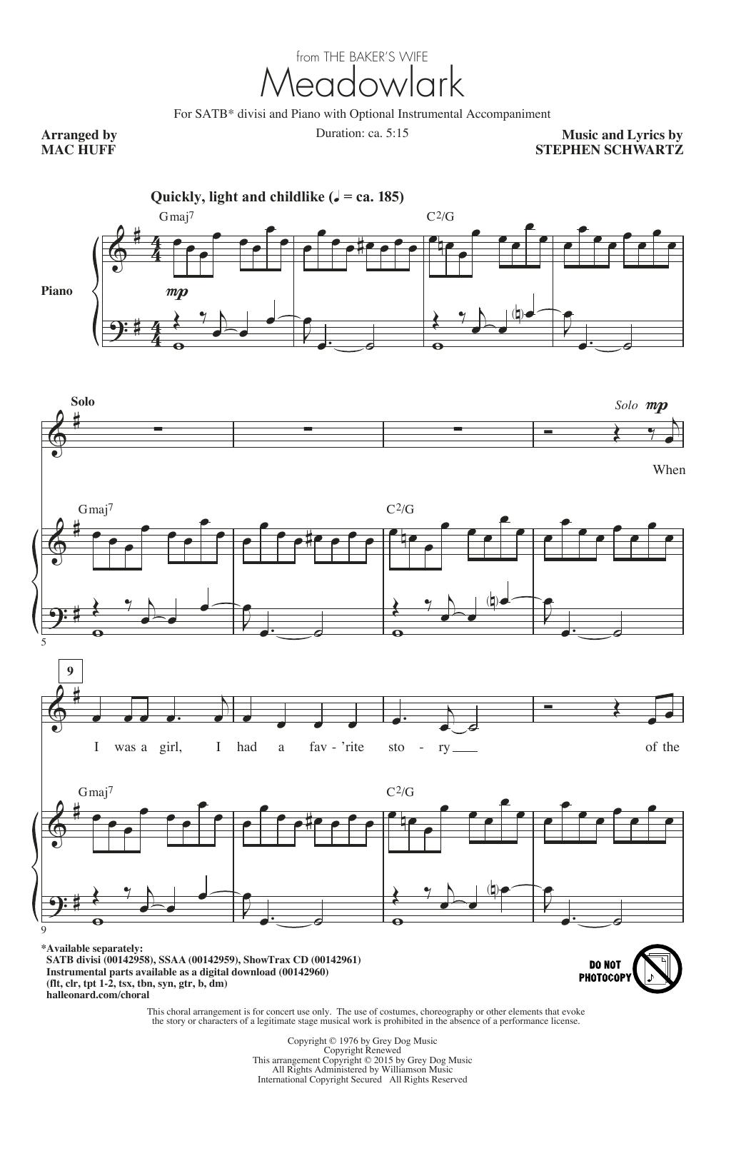 Partition chorale Meadowlark (Arr. Mac Huff) de Stephen Schwartz - SATB