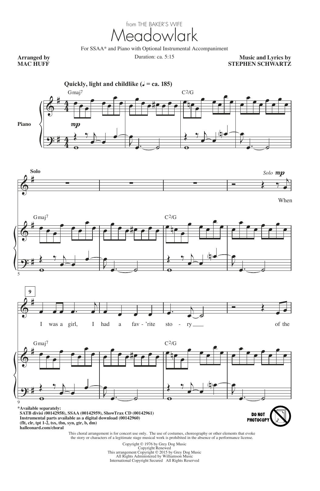 Partition chorale Meadowlark (Arr. Mac Huff) de Stephen Schwartz - SSA