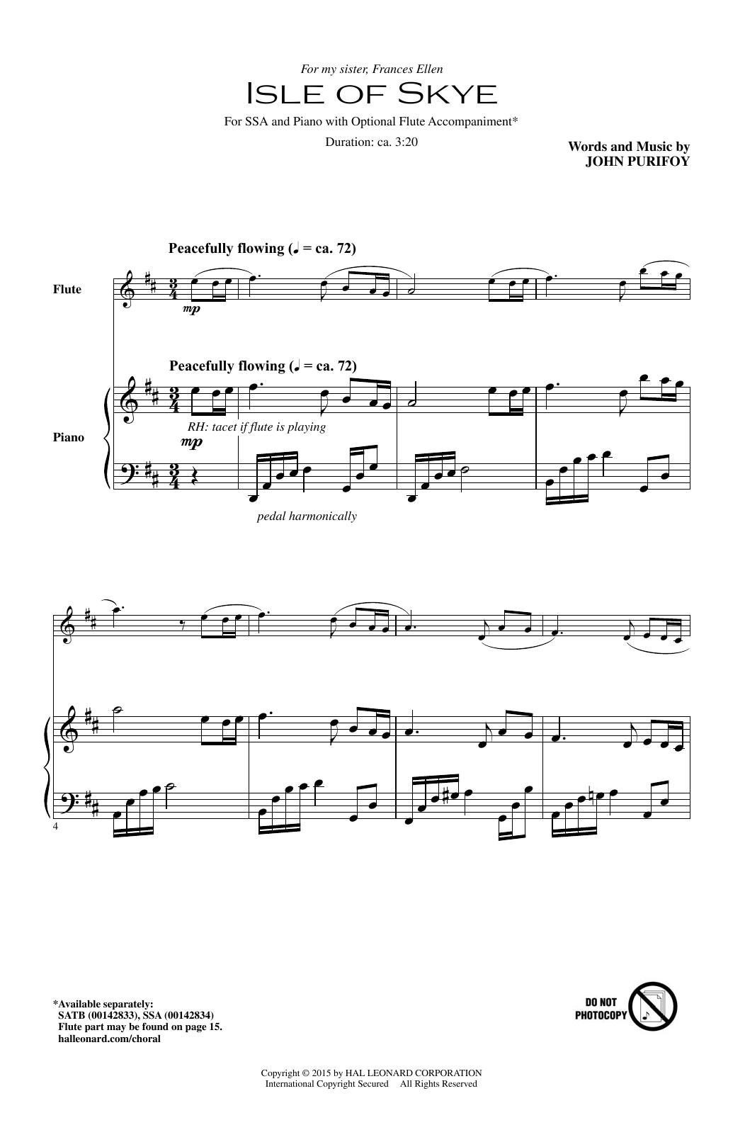 Partition chorale Isle Of Skye de John Purifoy - SSA