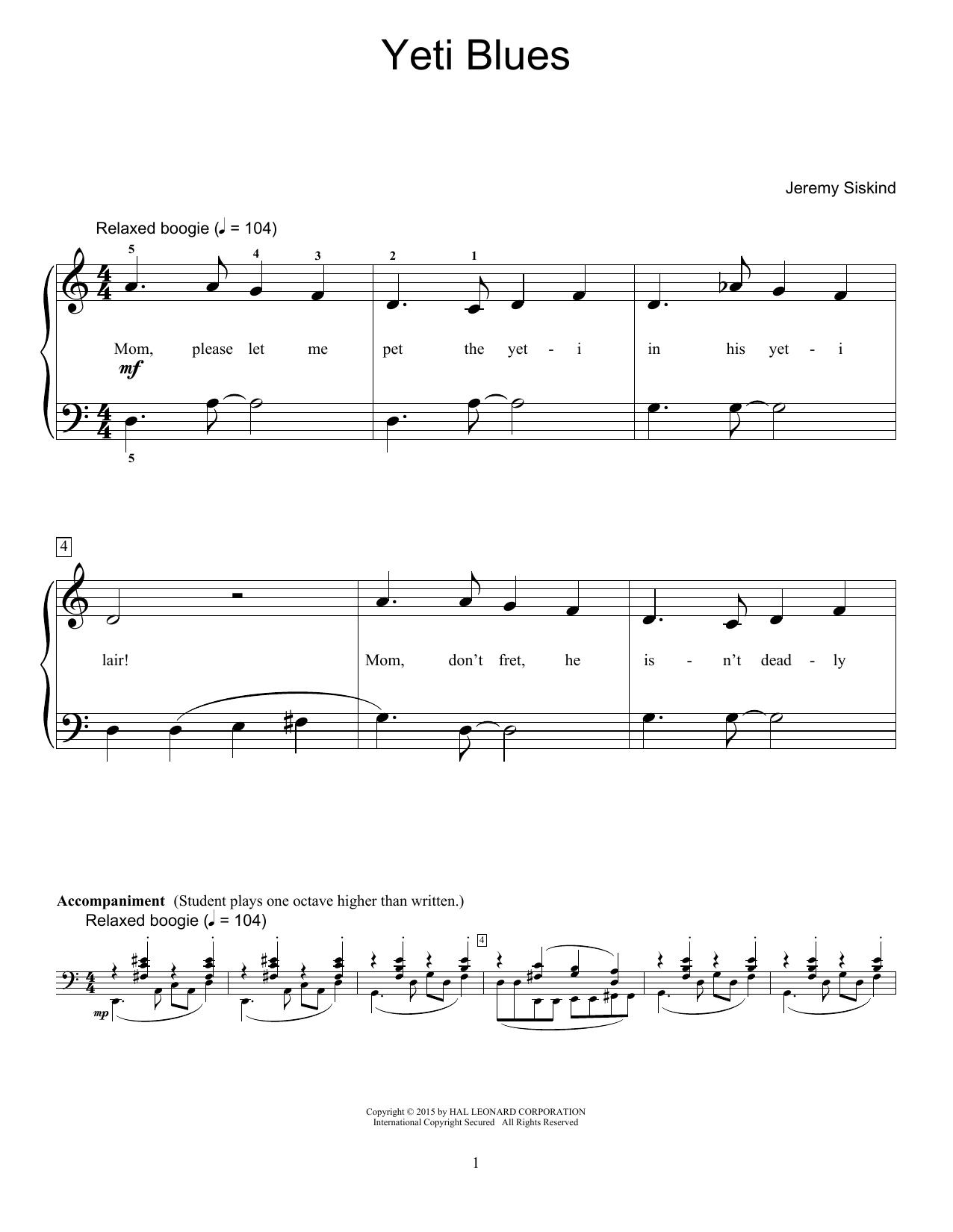 Partition piano Yeti Blues de Jeremy Siskind - Piano Facile