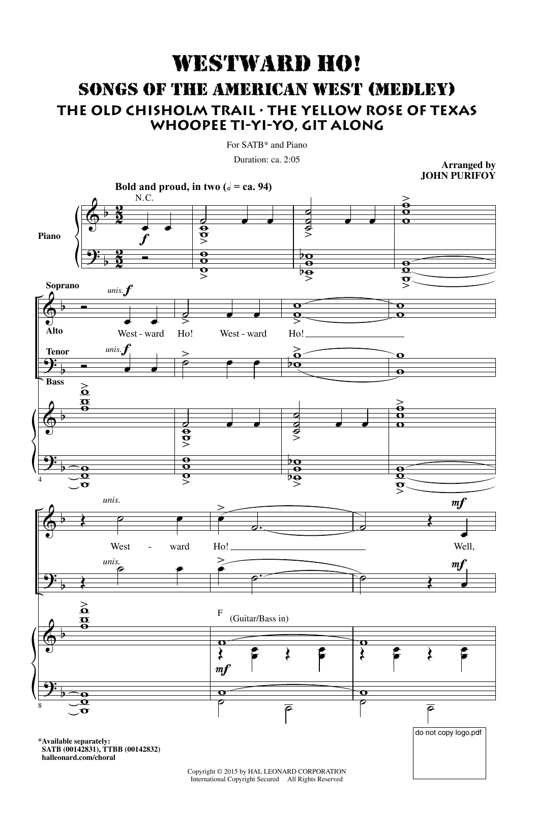 Partition chorale Westward Ho! Songs of the American West (Medley) de John Purifoy - SATB