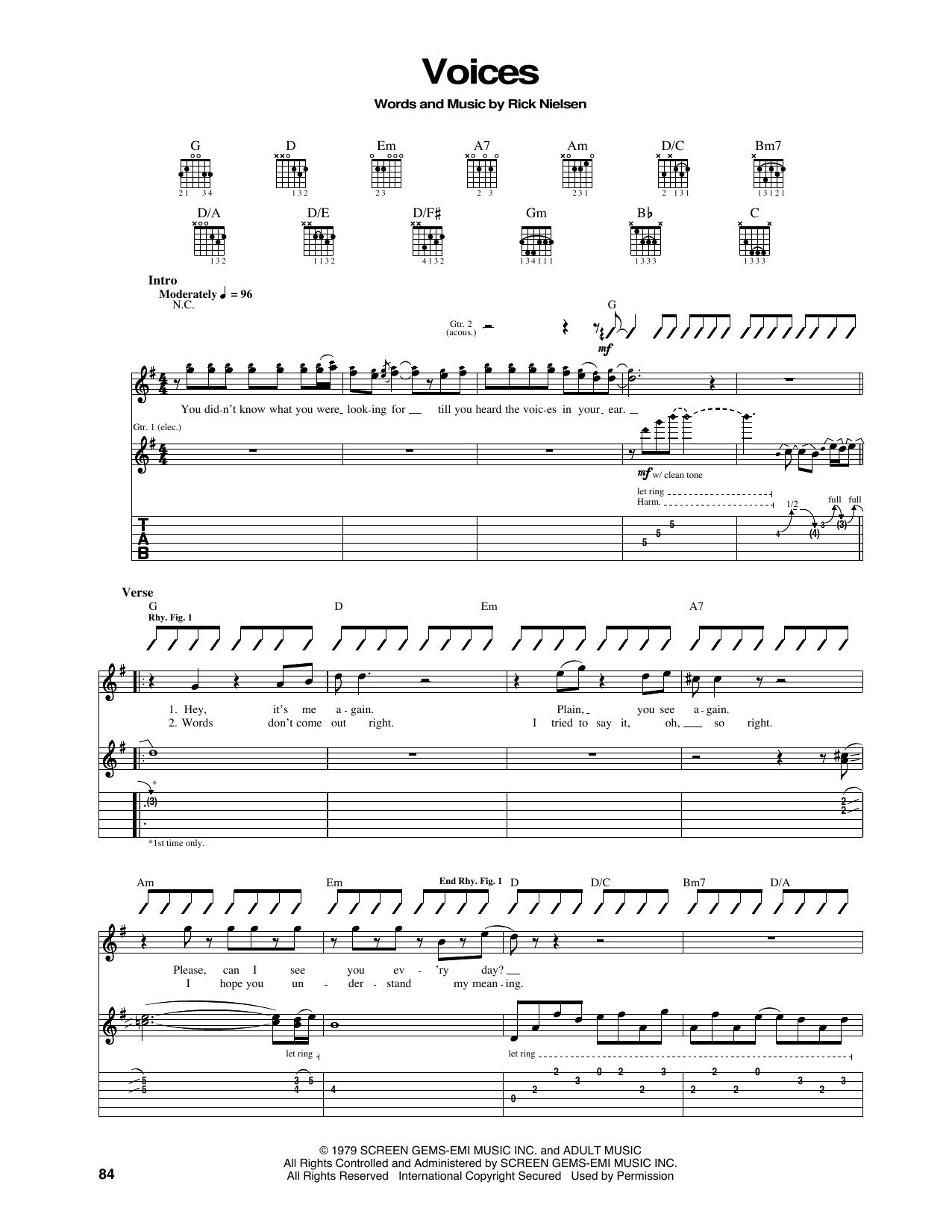Tablature guitare Voices de Cheap Trick - Tablature Guitare
