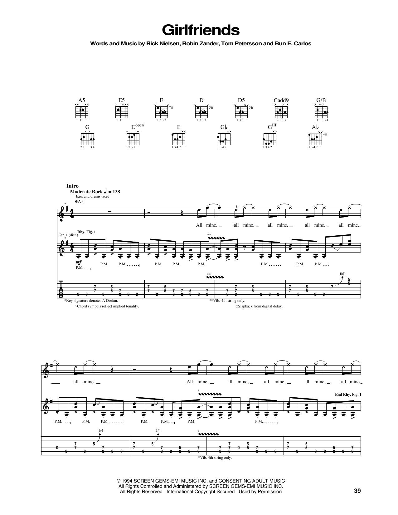 Tablature guitare Girlfriends de Cheap Trick - Tablature Guitare