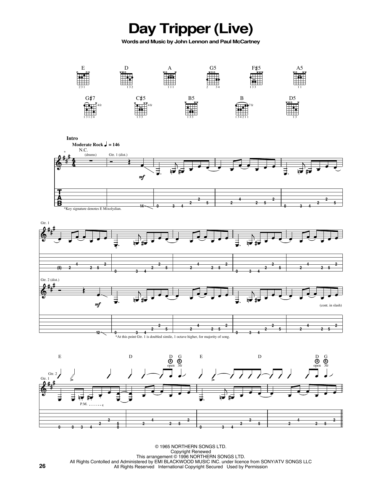 Tablature guitare Day Tripper de The Beatles - Tablature Guitare