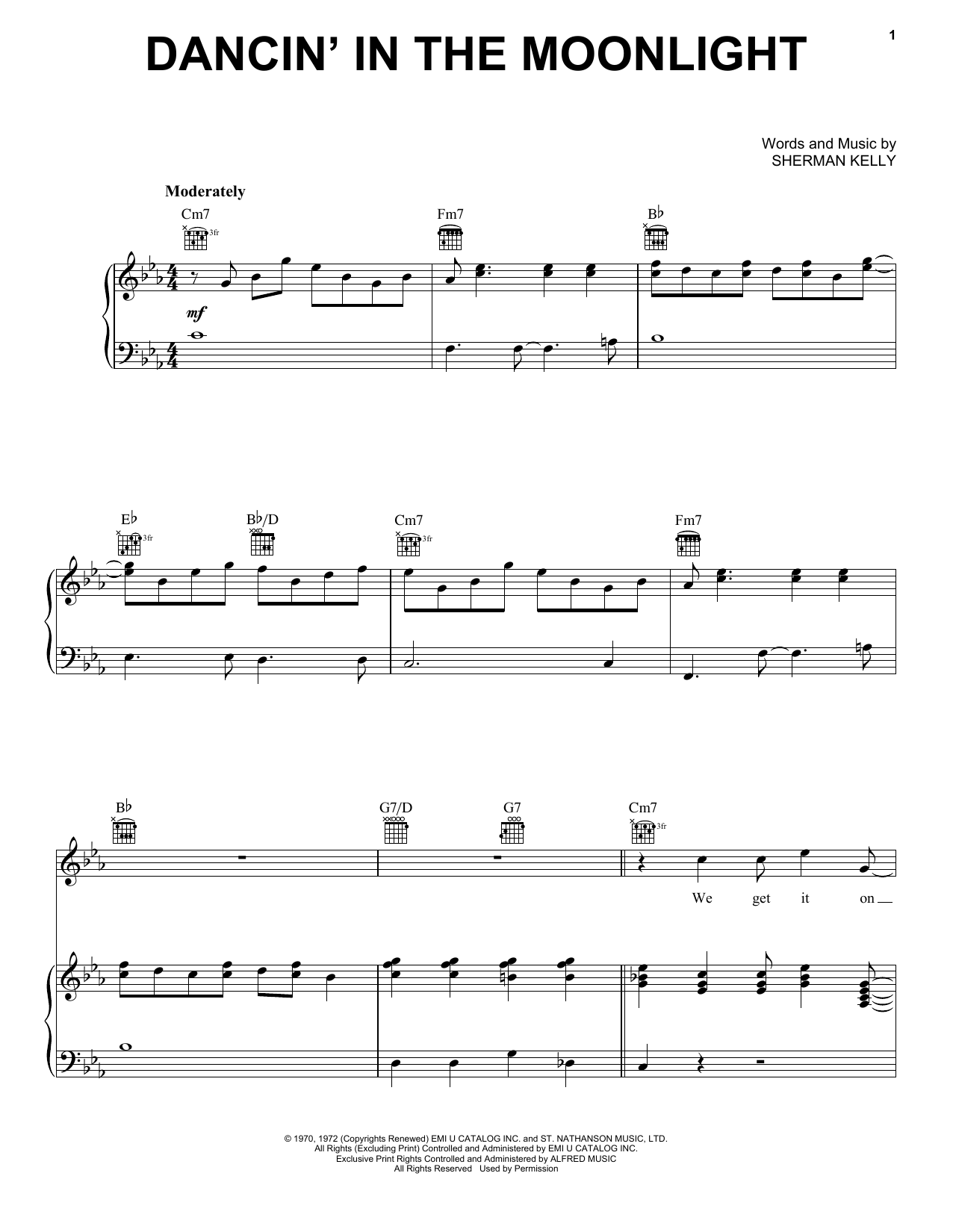 Partition piano Dancin' In The Moonlight de King Harvest - Piano Voix Guitare (Mélodie Main Droite)