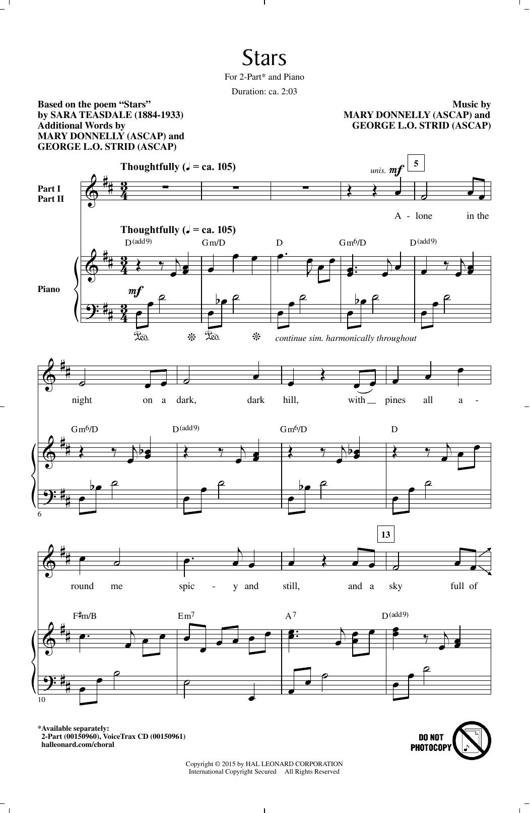 Partition chorale Stars de Sara Teasdale - 2 voix