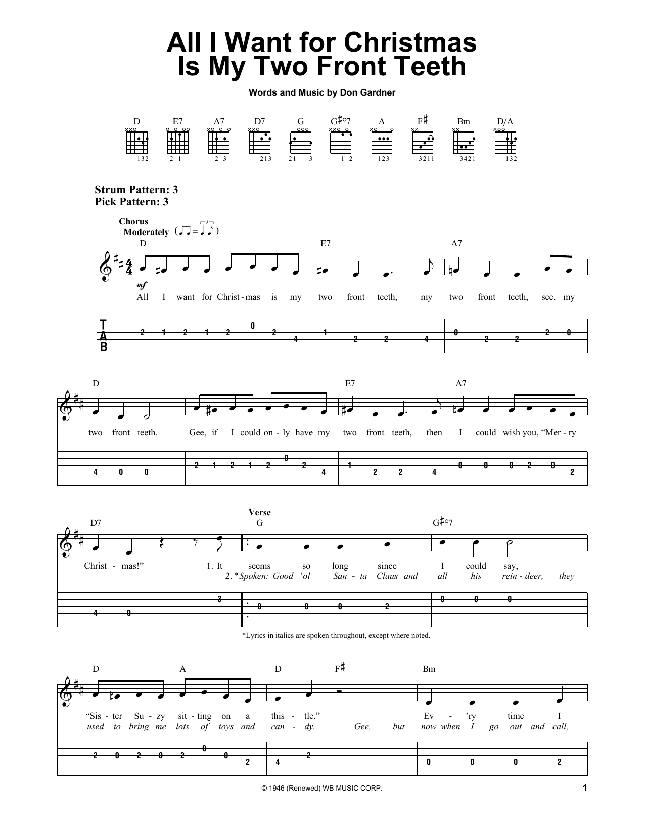 Sheet music digital files to print licensed easy guitar with tab all i want for christmas is my two front teeth hexwebz Images
