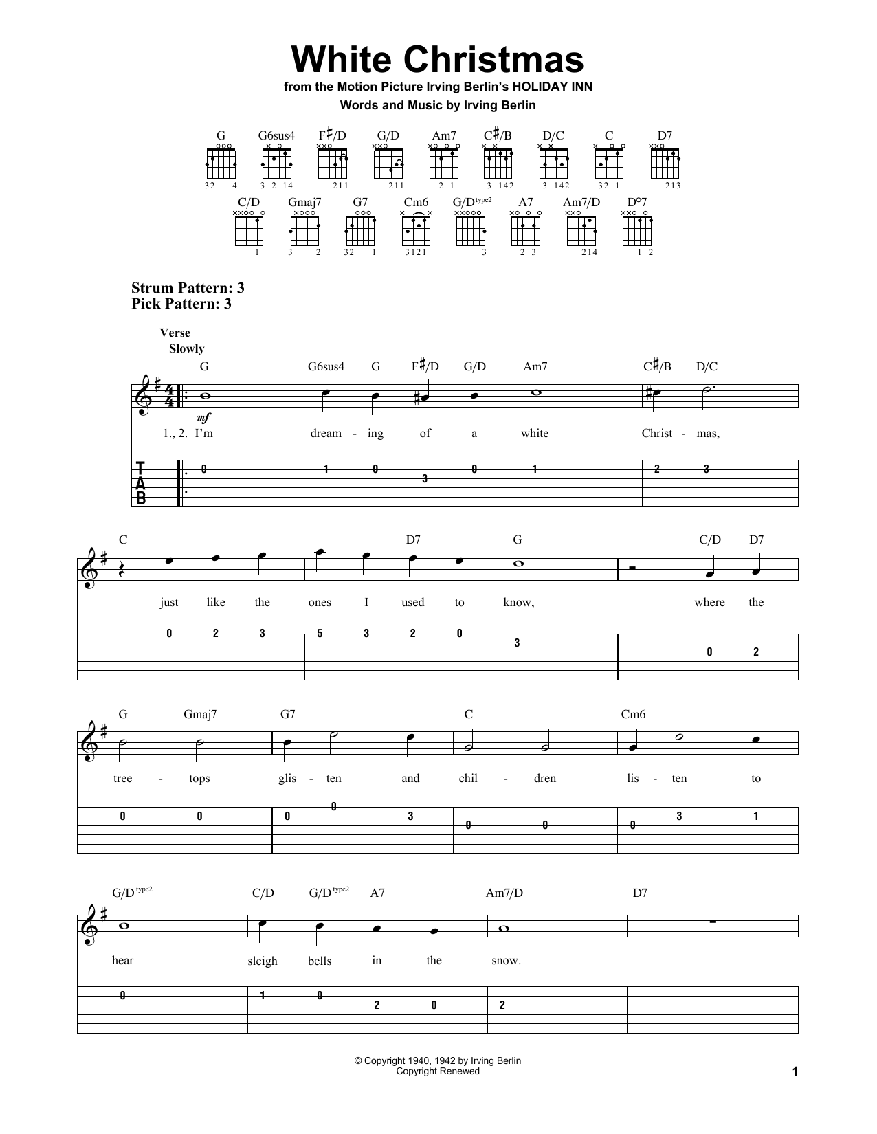 Tablature guitare White Christmas de Irving Berlin - Tablature guitare facile