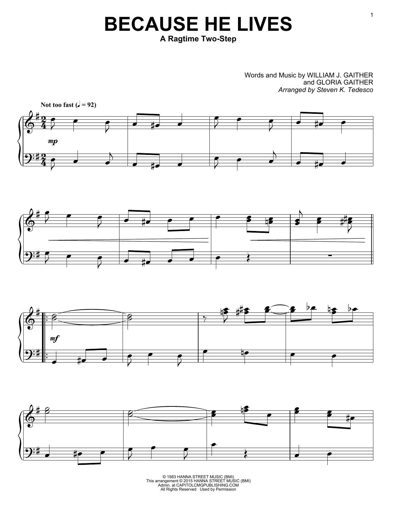 Partition piano Because He Lives de Gaither Vocal Band - Piano Solo