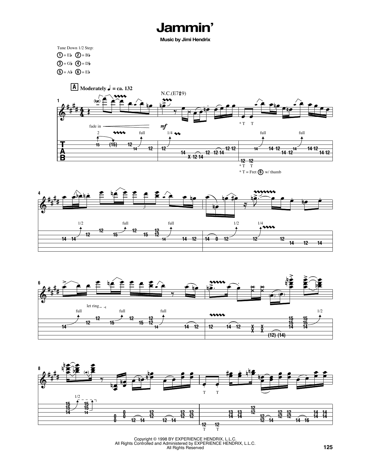 Tablature guitare Jammin' de Jimi Hendrix - Tablature Guitare