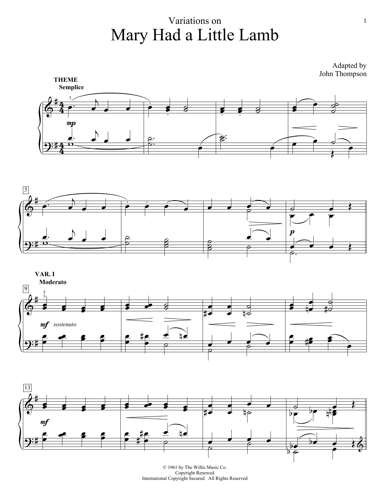 Partition piano Variations On Mary Had A Little Lamb de John Thompson - Piano Facile