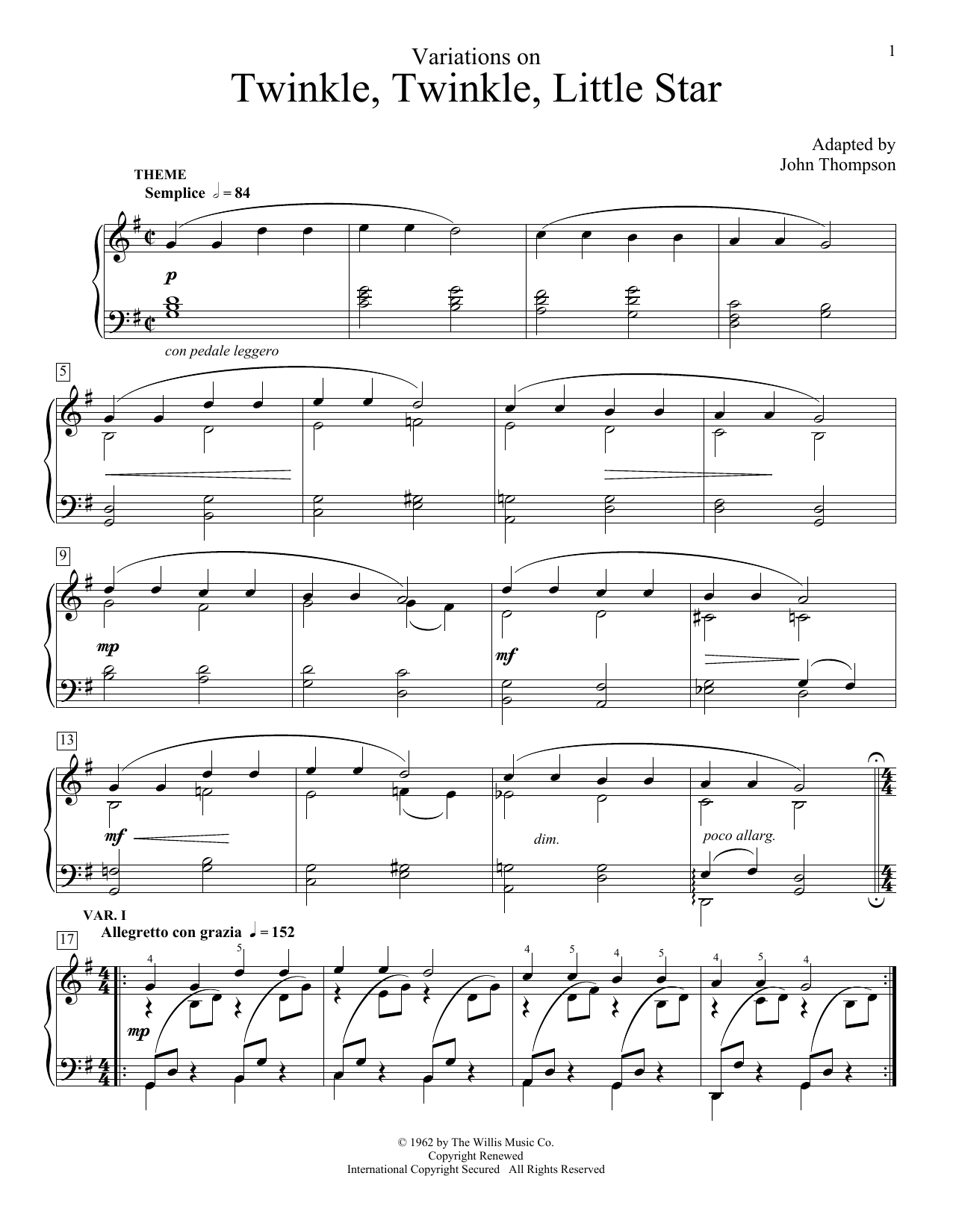 Partition piano Variations On Twinkle, Twinkle, Little Star de John Thompson - Piano Facile