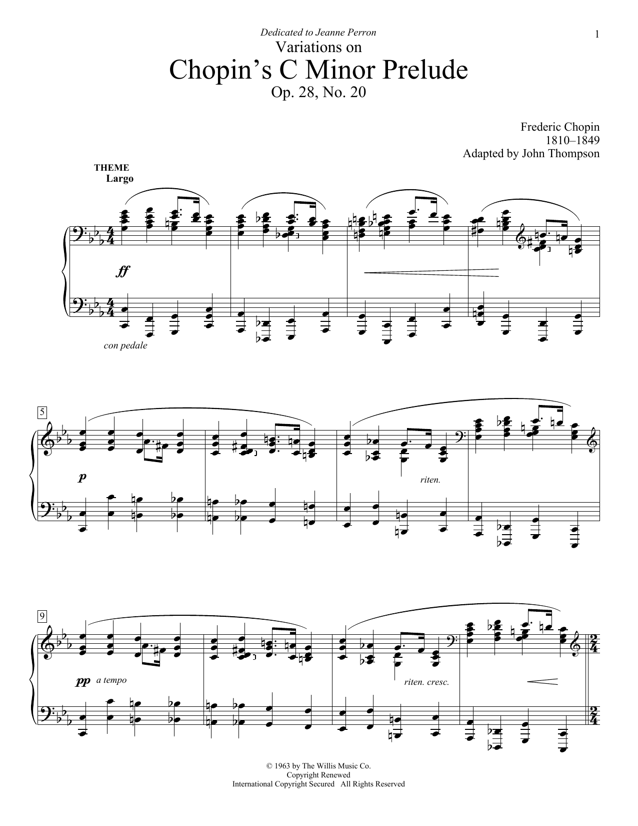 Partition piano Variations On Chopin's C Minor Prelude de John Thompson - Piano Facile