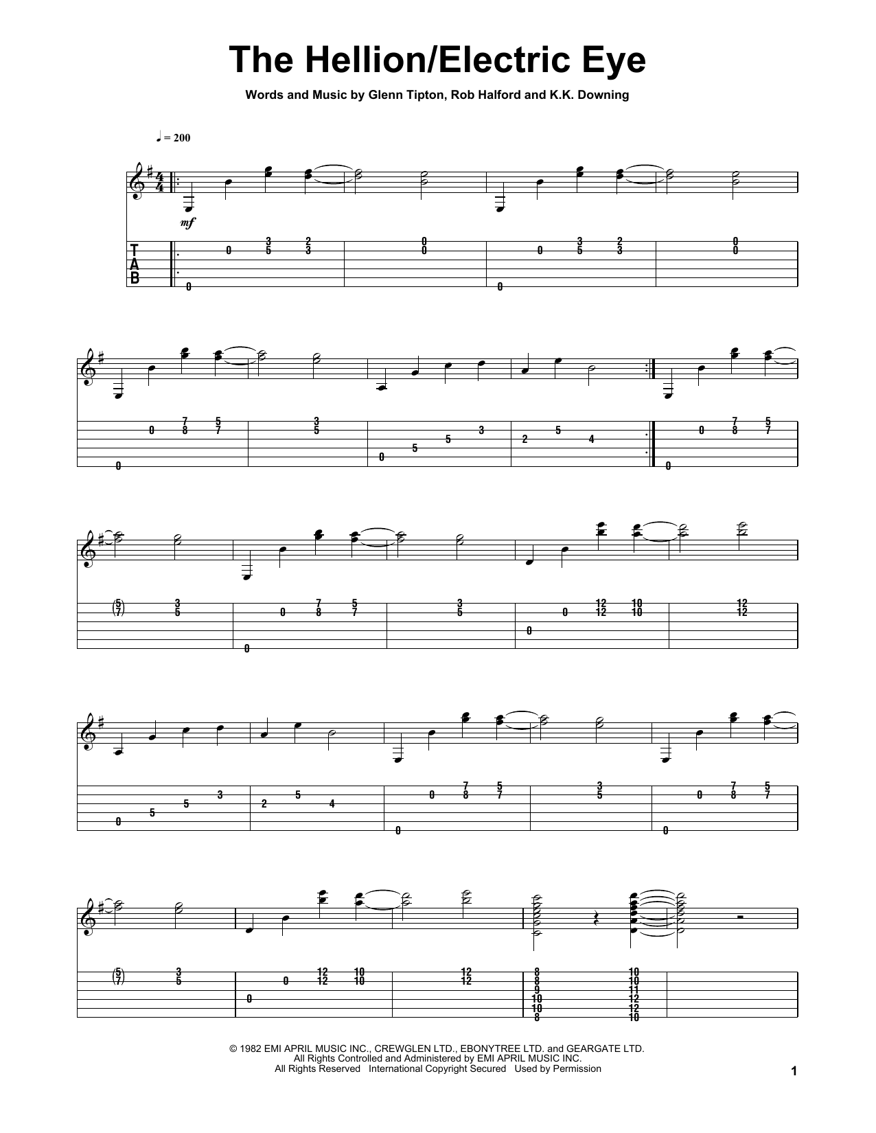 Tablature guitare Electric Eye de Judas Priest - Tablature Guitare