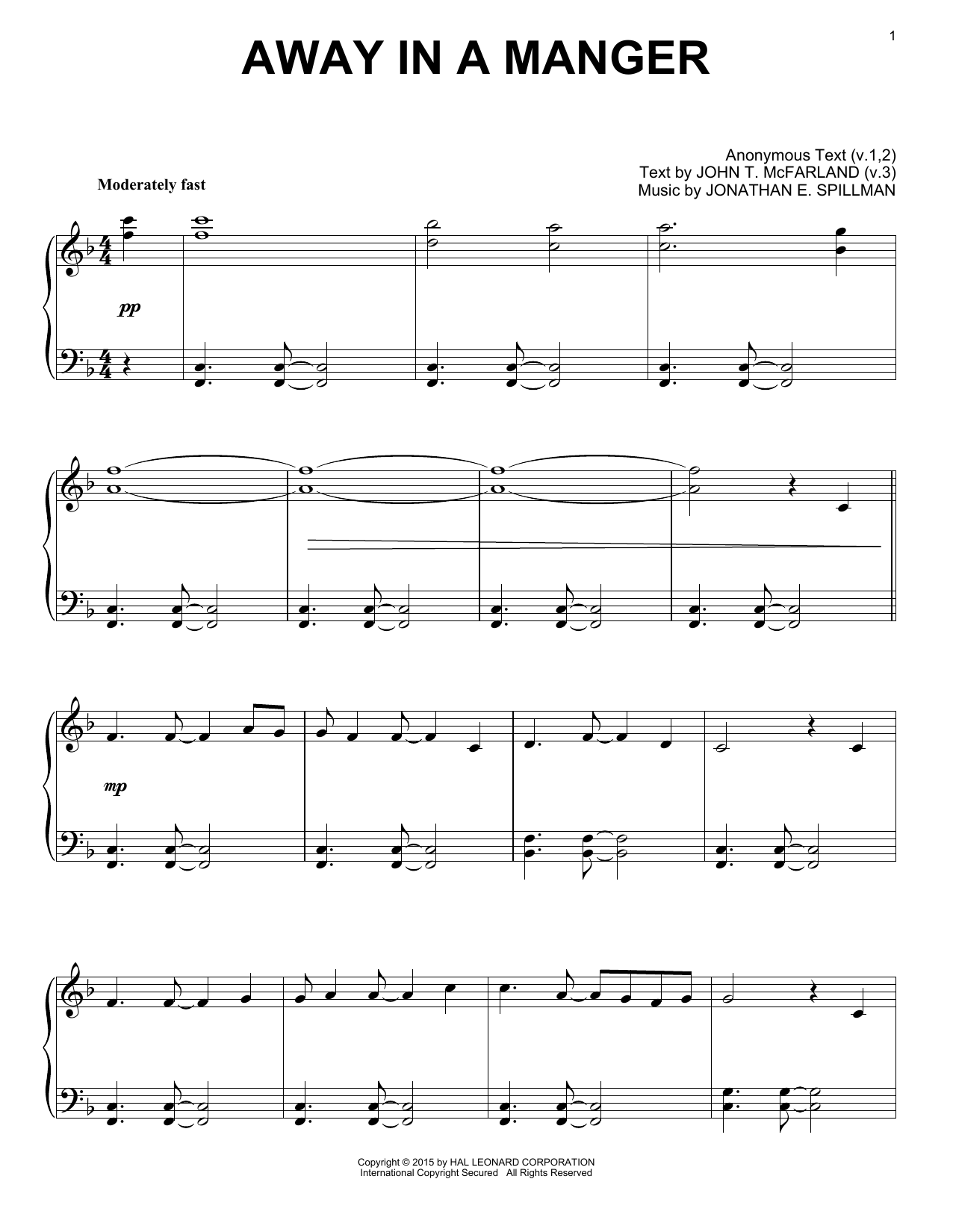 Partition piano Away In A Manger de Christmas Carol - Piano Solo
