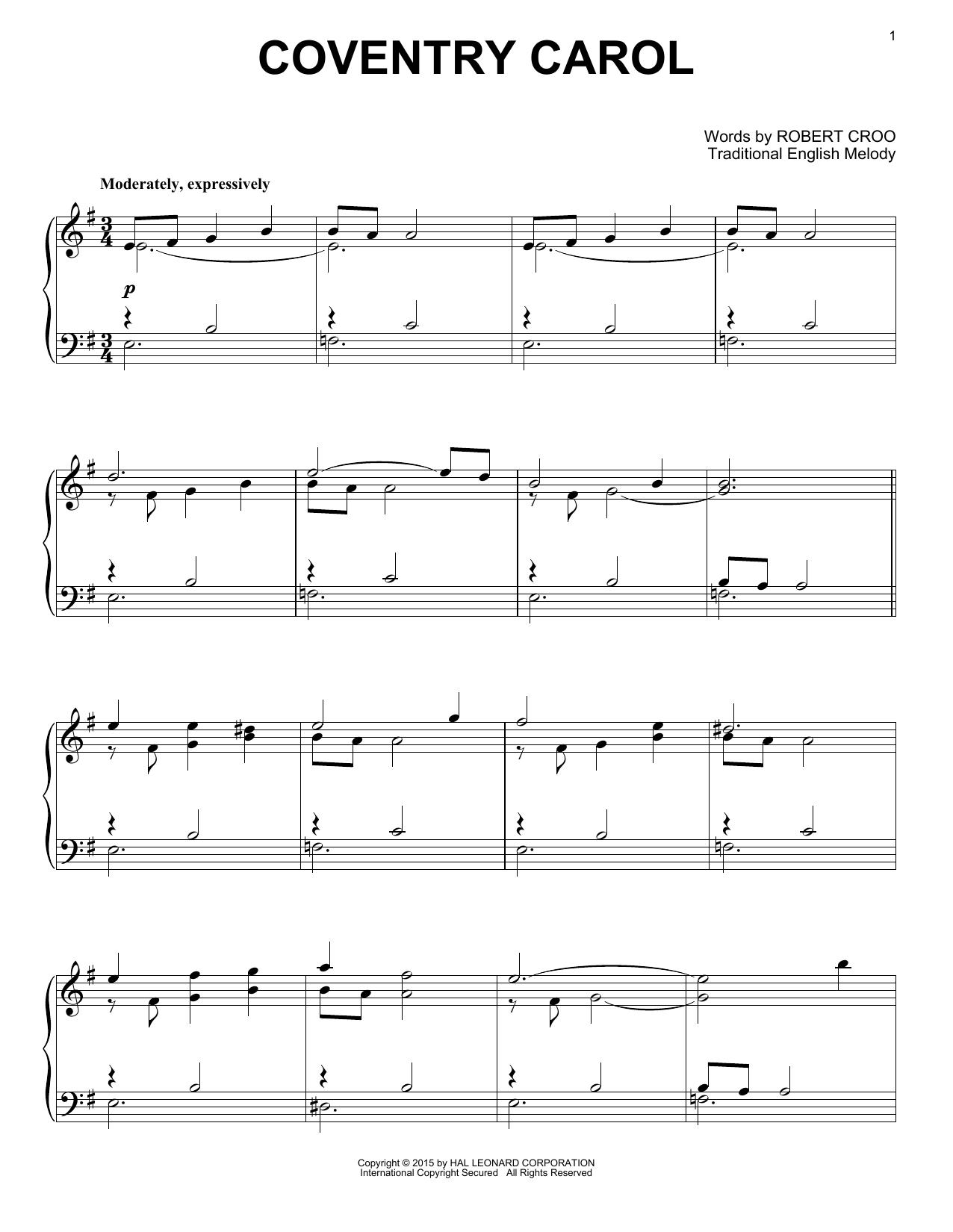 Partition piano Coventry Carol (Arr. Robert Croo) de Christmas Carol - Piano Solo