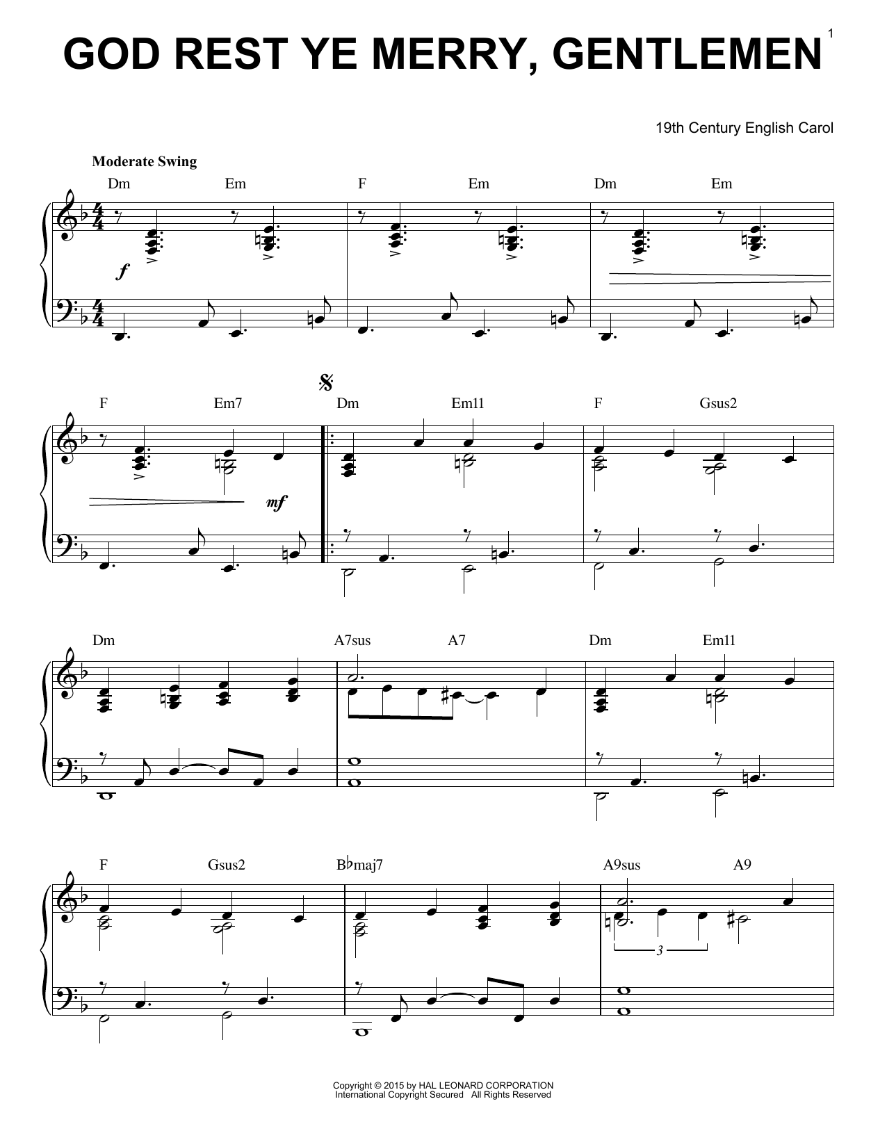 Partition piano God Rest Ye Merry, Gentlemen de Christmas Carol - Piano Solo