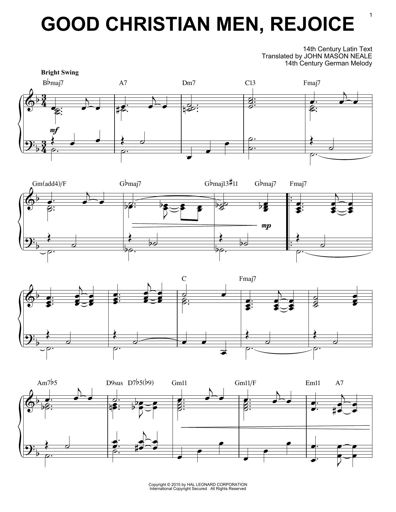 Partition piano Good Christian Men, Rejoice de John Mason Neale - Piano Solo
