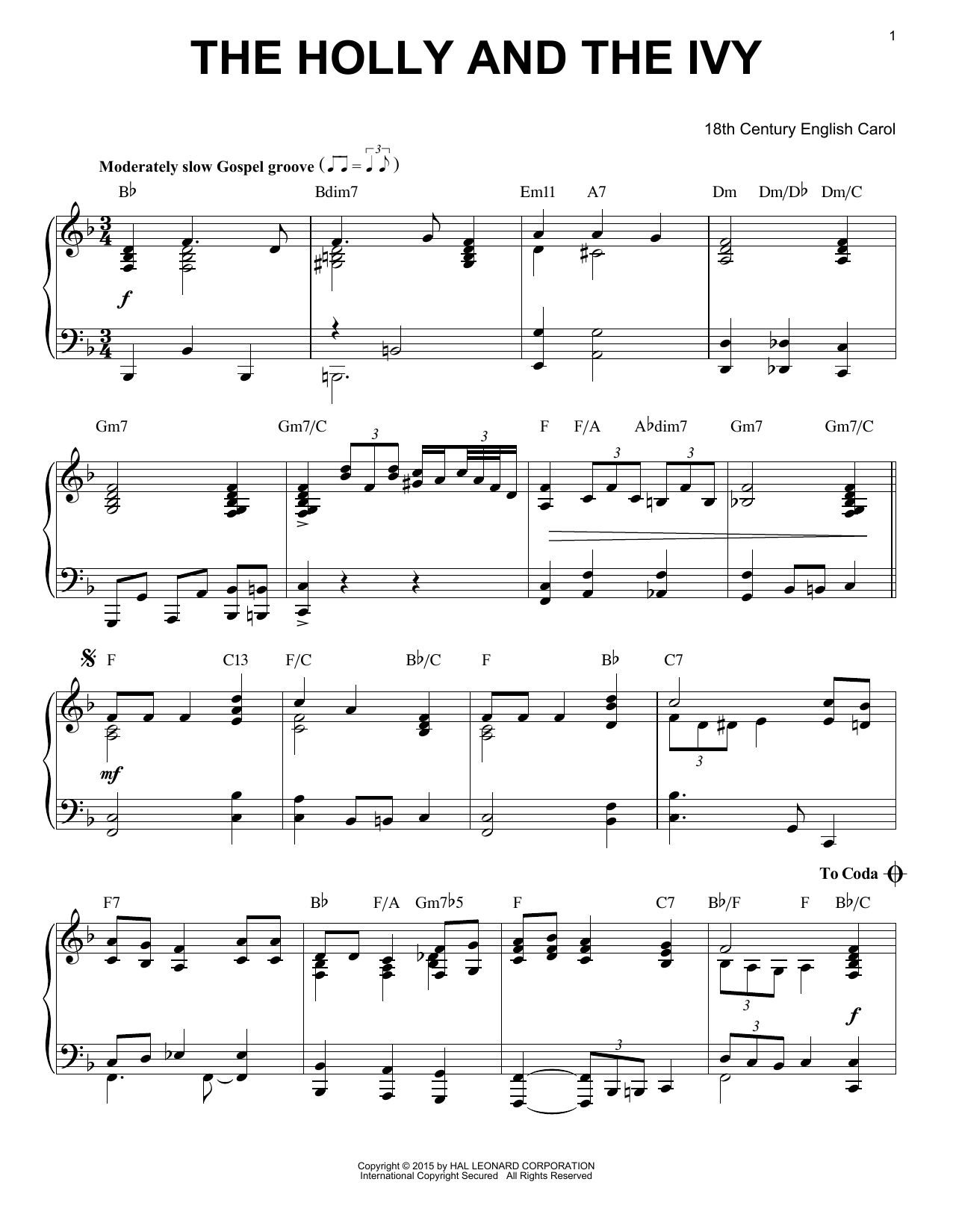 Partition piano The Holly And The Ivy de Christmas Carol - Piano Solo